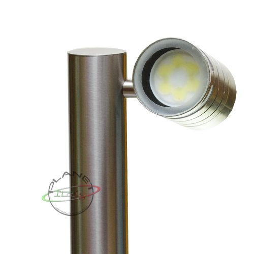 Palo paletto lampione led da giardino 4w resa 50w 220v MCOB LED acciaio satin...