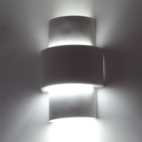 Applique in gesso emissione luce sopra sotto luce bianco E14 lampada led pare...