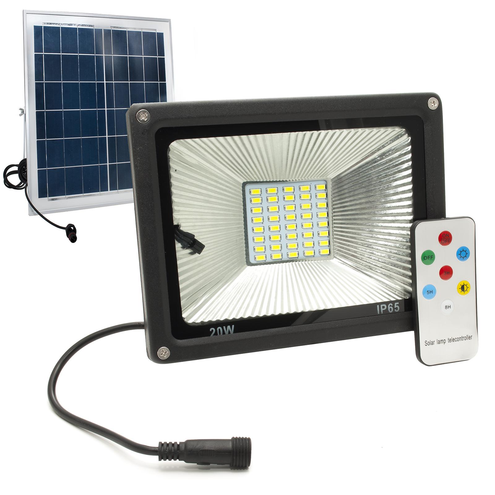 Luce Per Esterno Con Pannello Solare.Faro Led 20w Faretto Crepuscolare Esterno Ip65 Pannello Solare Telecomando