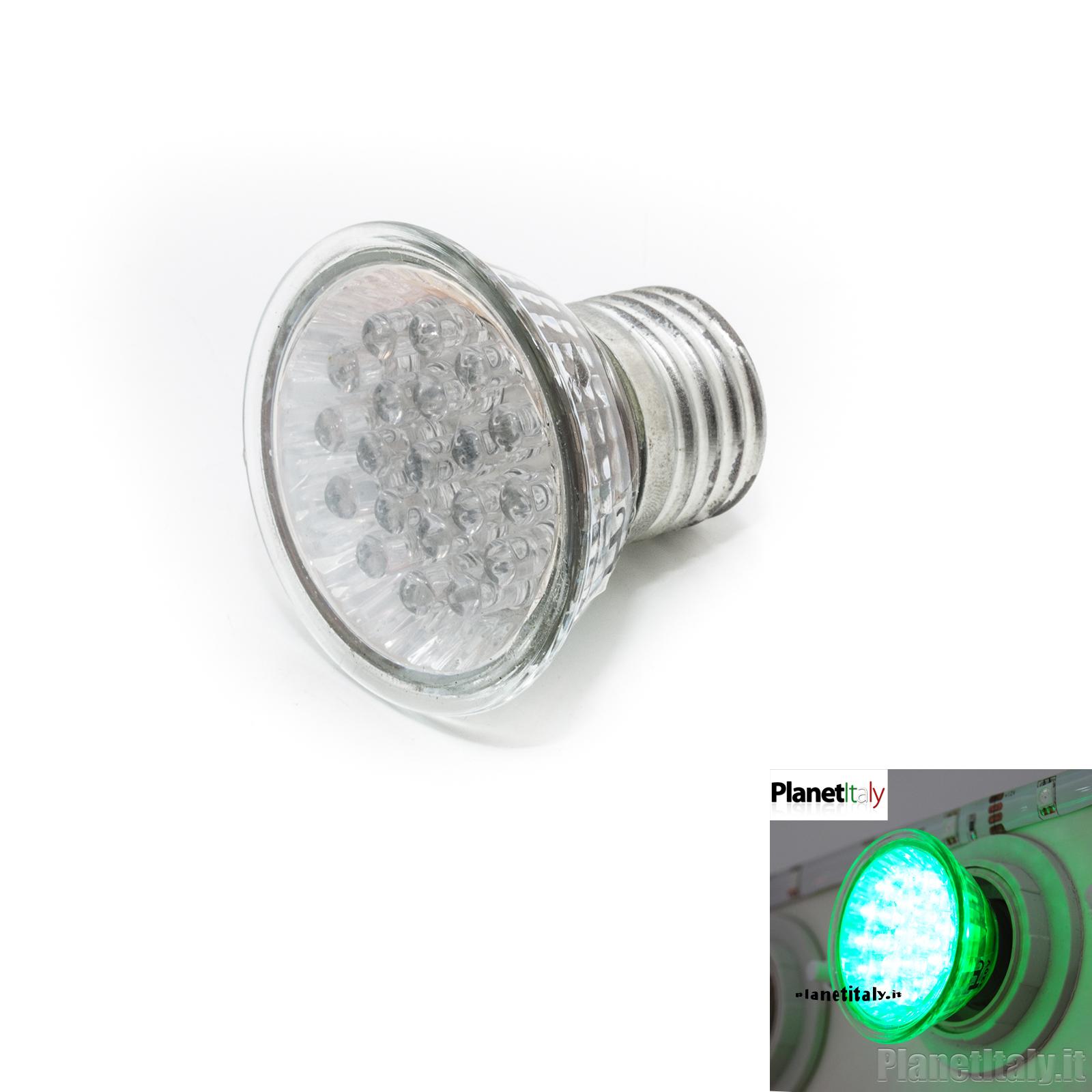 Faretti Led E27.Faretto Led E27 20 Led Luce Verde 220v 2w Lampada Decorativa Green Light Spot