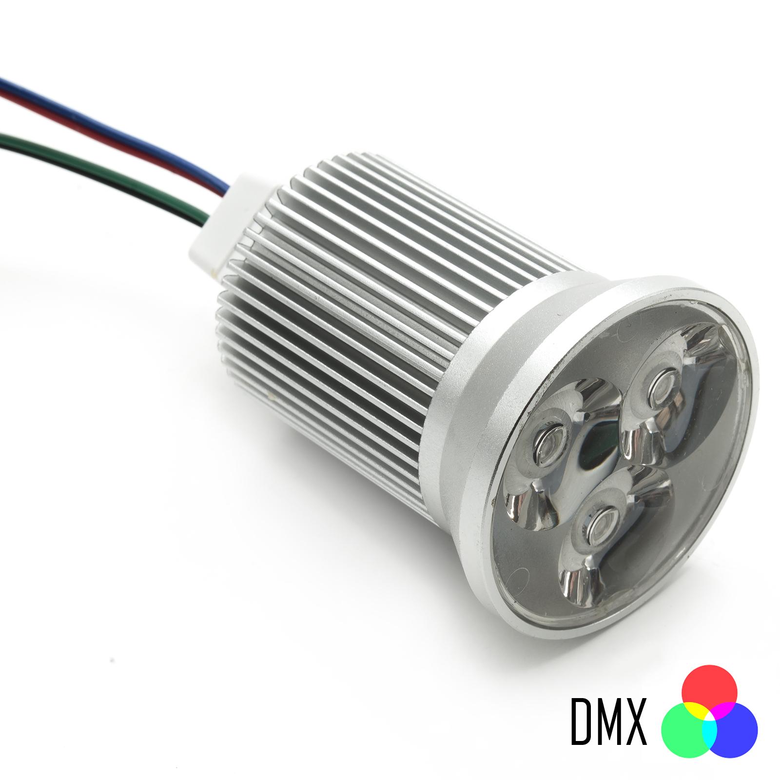 Lampada Per Faretto A Led.Faretto Led Rgb Dmx 9w Spot Sincronizzabile 12v 50mm Luce Lampada Cromoterapia 3x3w