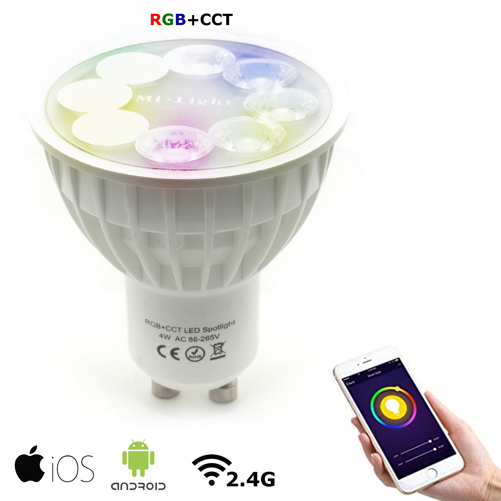 Lampada Per Faretto A Led.Faretto Lampada Smart Led Gu10 4w Rgb Cct Rf 2 4ghz Spotlight Dimmerabile 280lm
