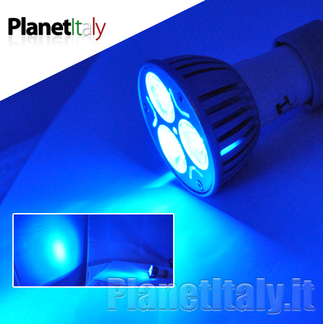 lampadina blu : ... lampadina led gu10 luce blu 3x1w spot led luce blu 230v faretto blu 3W