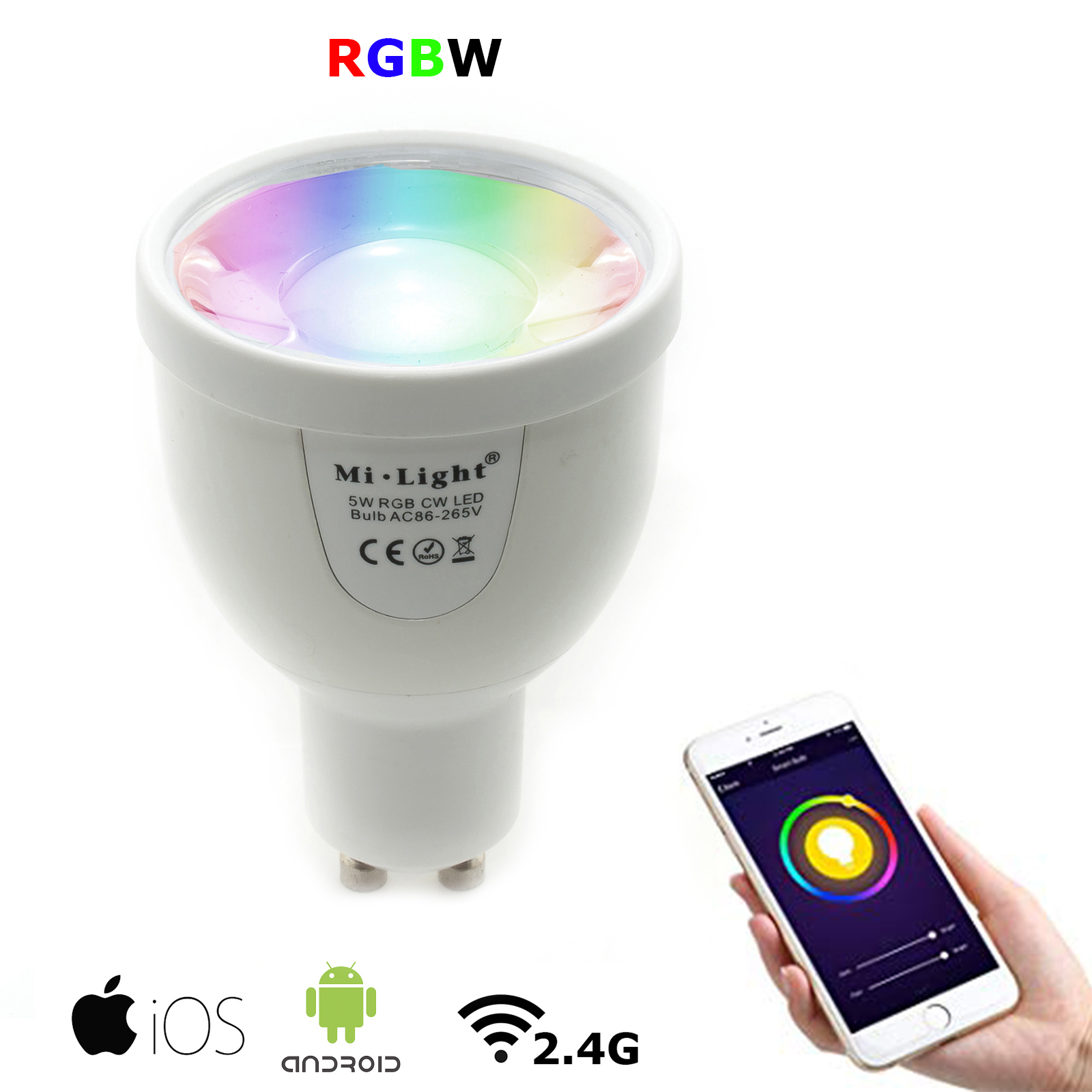 Faretto lampada led gu10 5w smart RGBW Rf 2.4Ghz dimmer 490lm app ios android