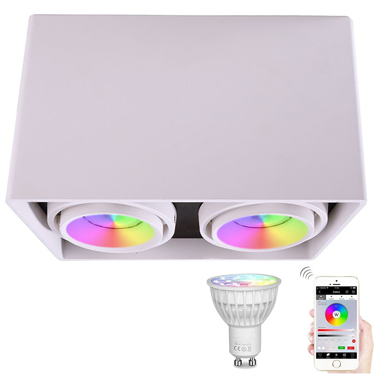 Lamp ceiling double spotlight, multicolor adjustable led ceiling light GU10 RGBW