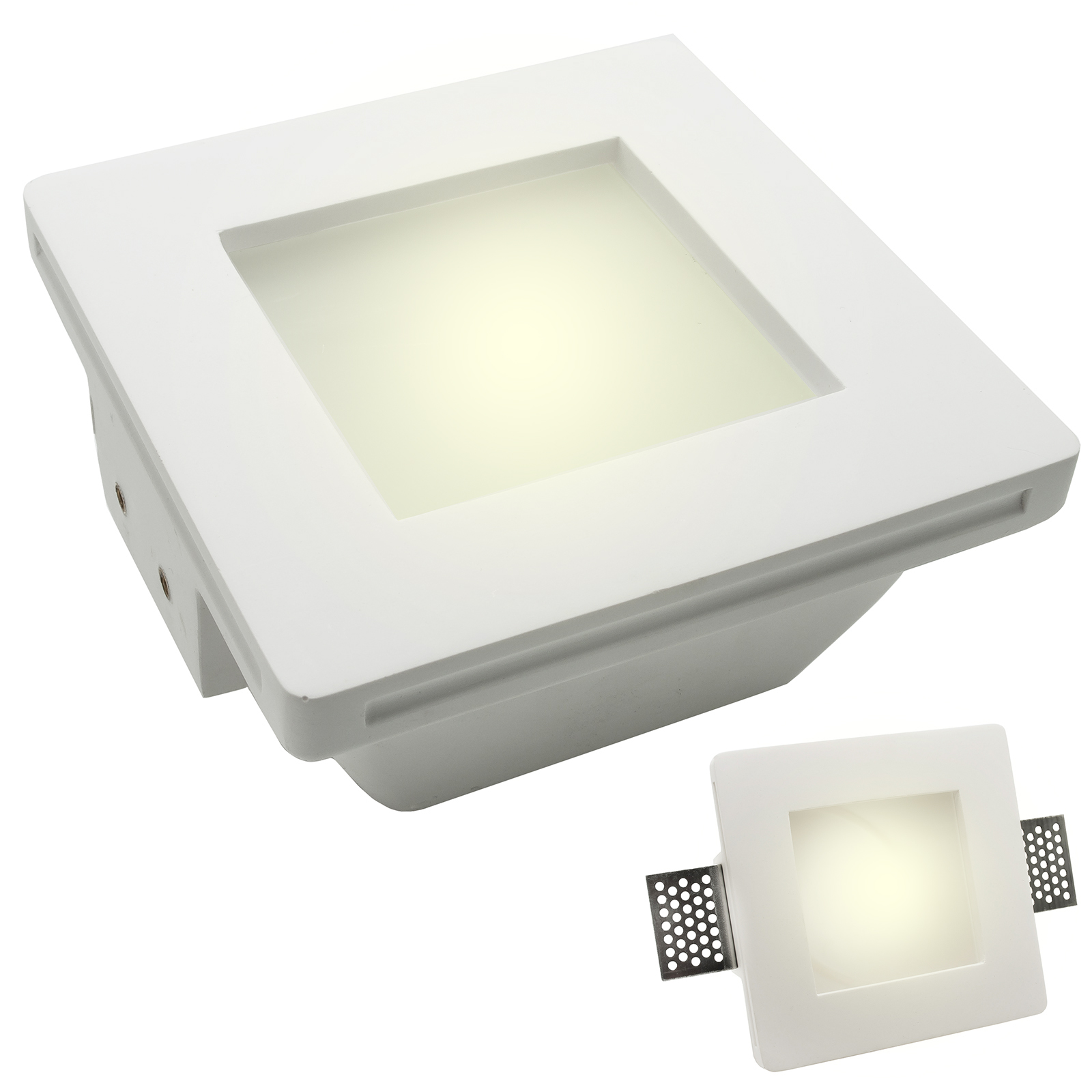 Spotlight plaster disappearance led lamp 8W recessed square frosted glass gu10