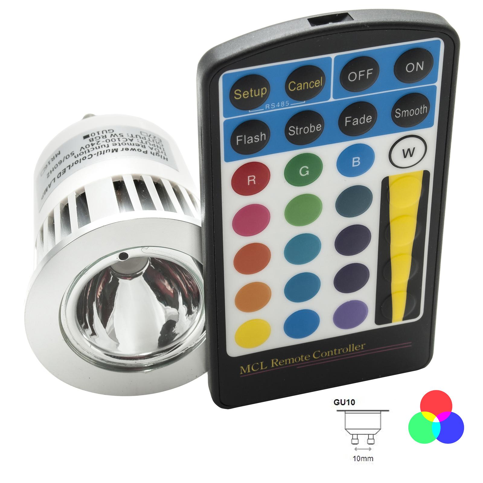 kit 3 faretti led gu10 rgb 5w cromoterapia telecomando incluso 16 colori di luce