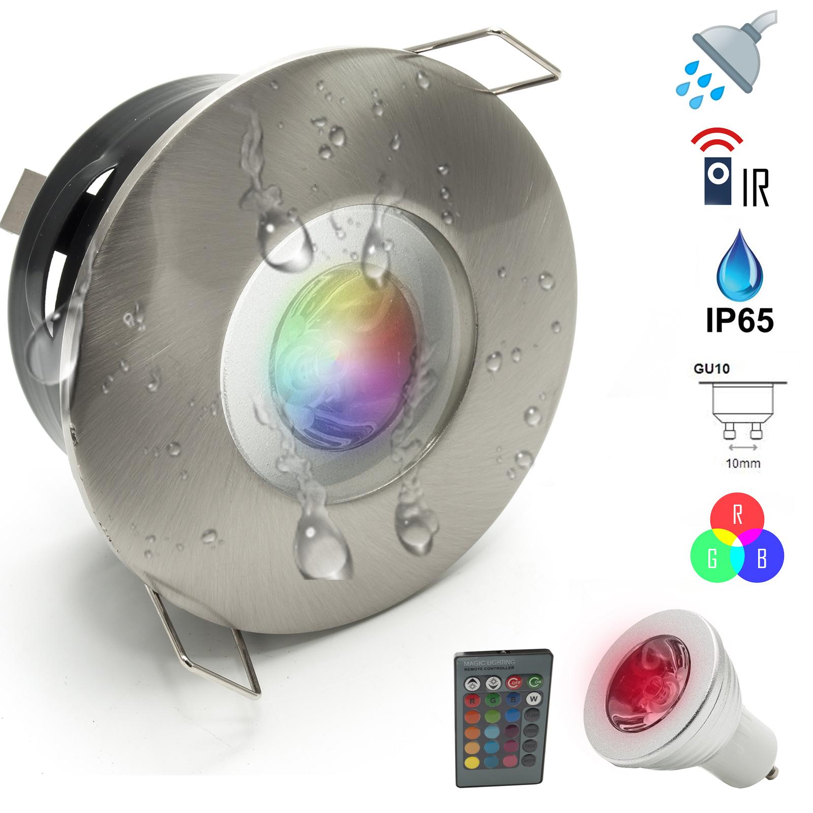 Detalles de Strahler LED Licht Bunt Dusche 15W Badezimmer Türkisch  Farbtherapie IP15 GU15 RGB