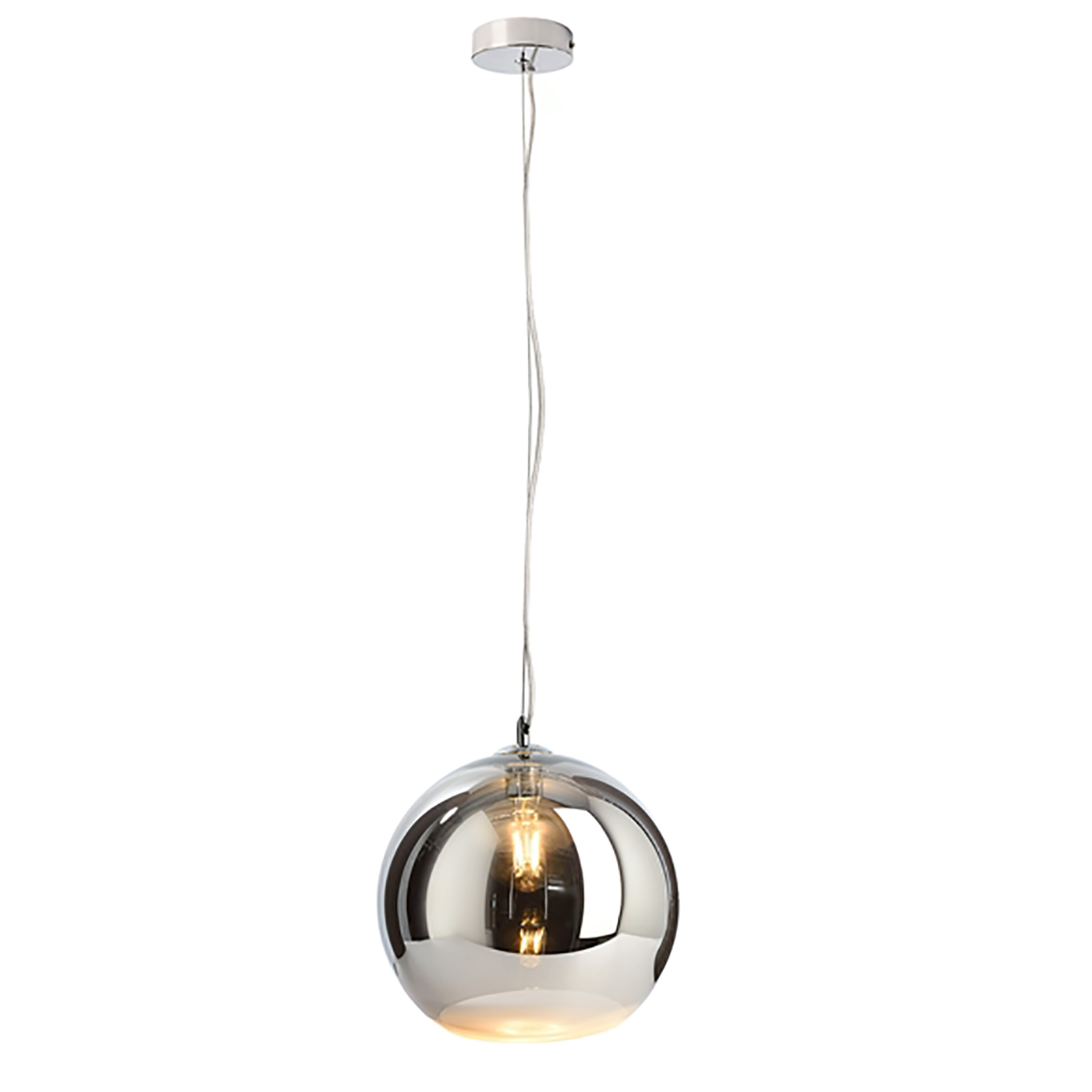 Pendete led sphere glass lamp, modern silver suspension globe ceiling E27