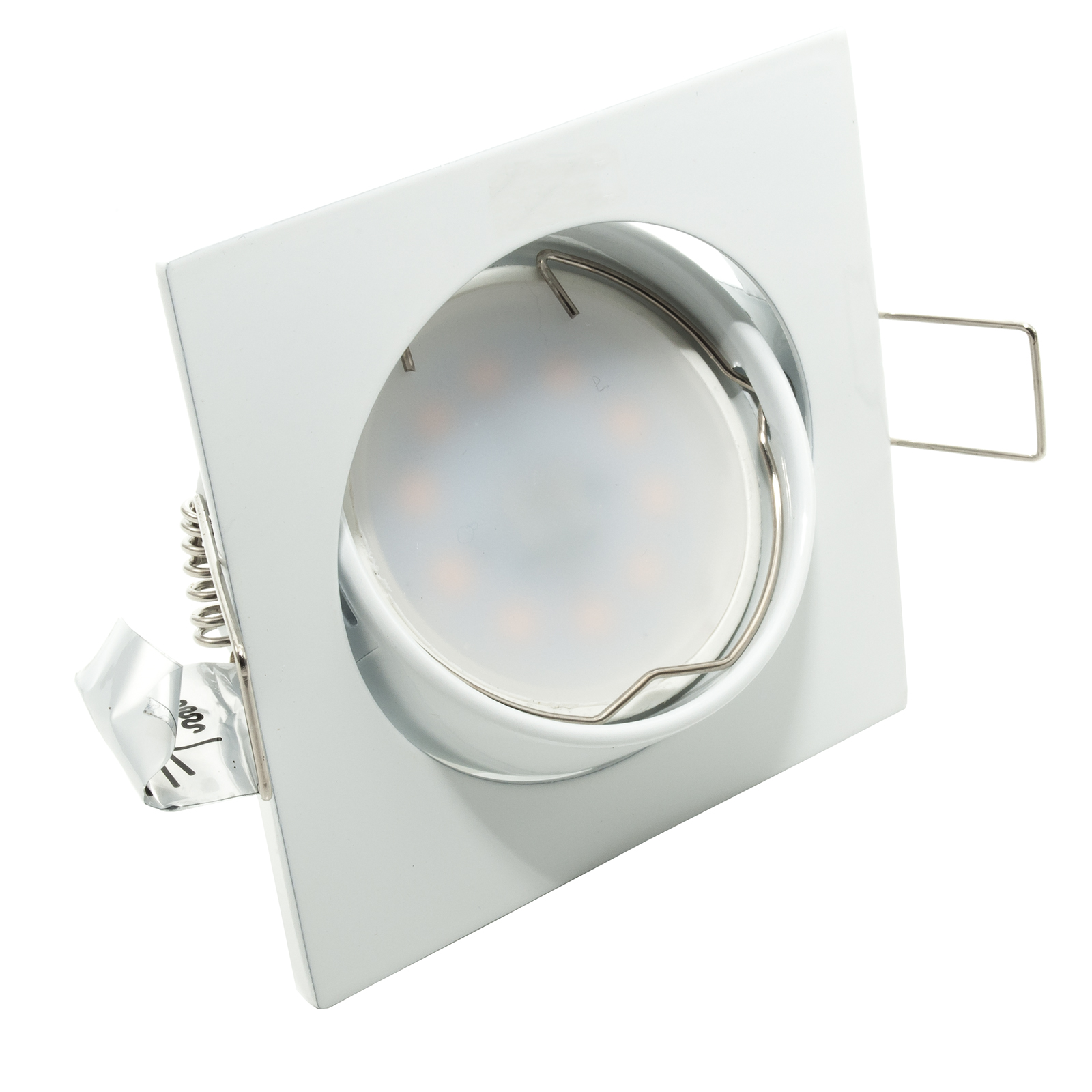 Spotlight lamp adjustable LED 8W recessed, white diffuse light GU10 hole 7cm