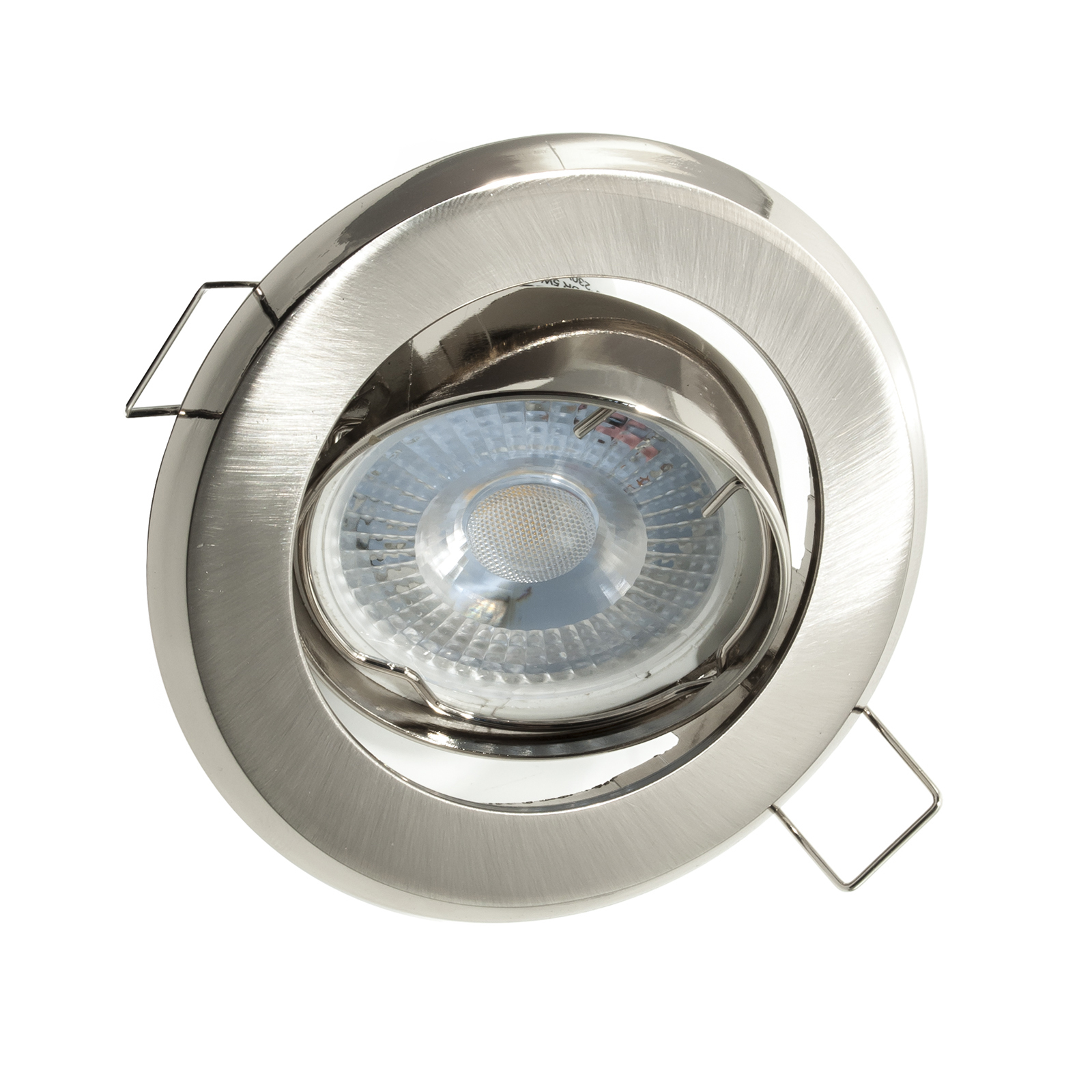 Spotlight adjustable LED 5W recessed round silver corner 38 GU10 hole 7cm 220V
