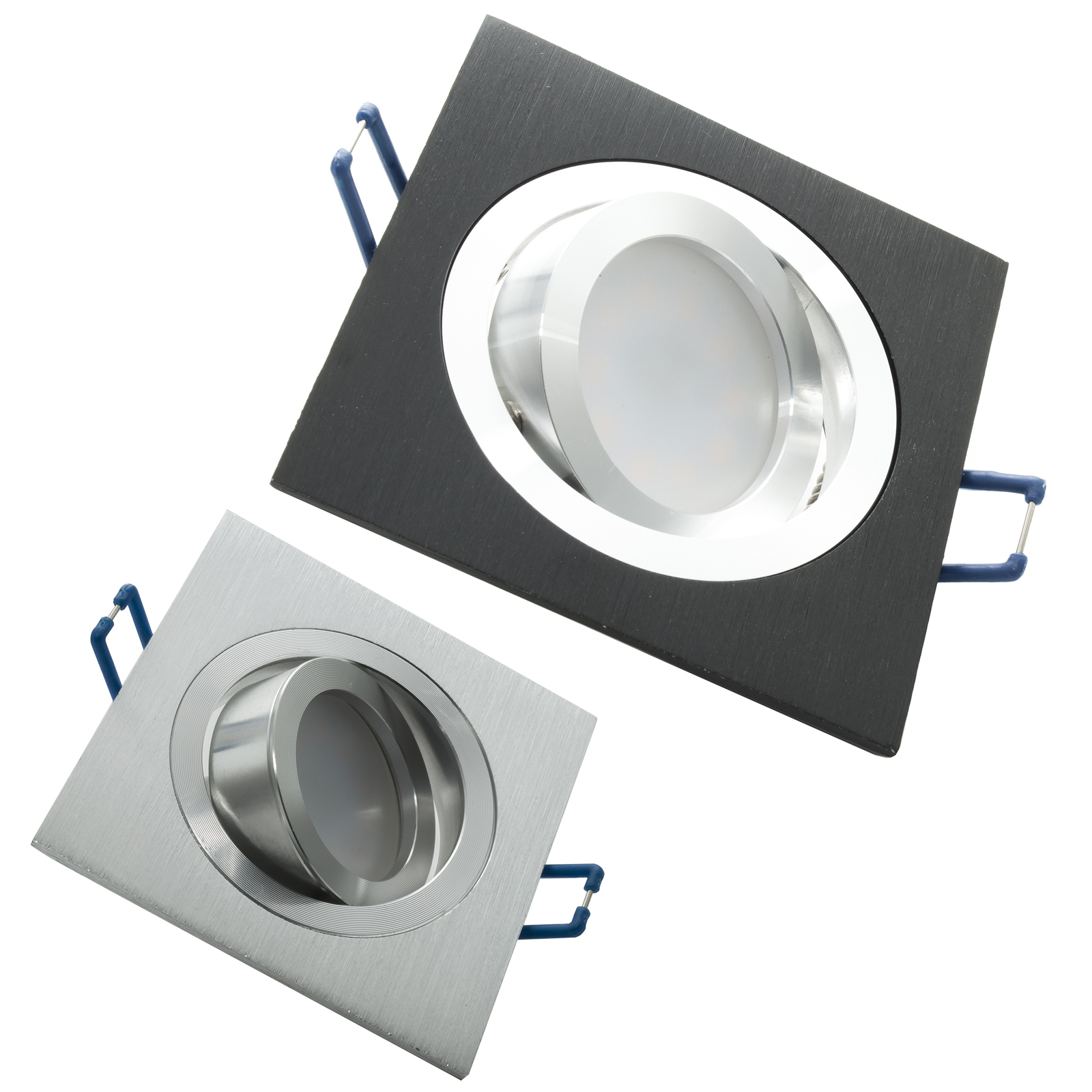 Spotlight adjustable LED 8W recessed square diffused light 150 degree GU10 hole 8