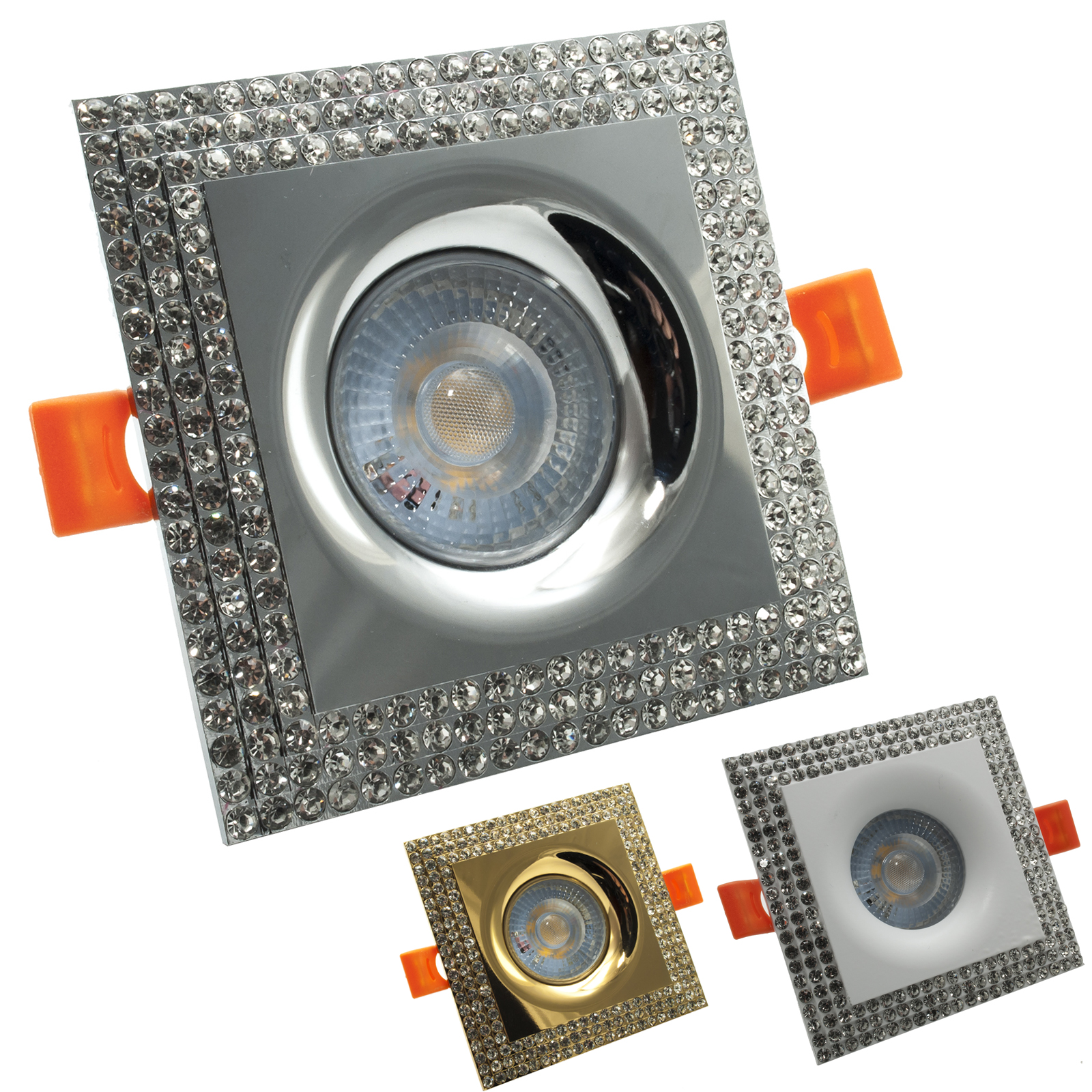 LED spotlight 5W recessed square frame glitter spot light 38 degree hole 65mm
