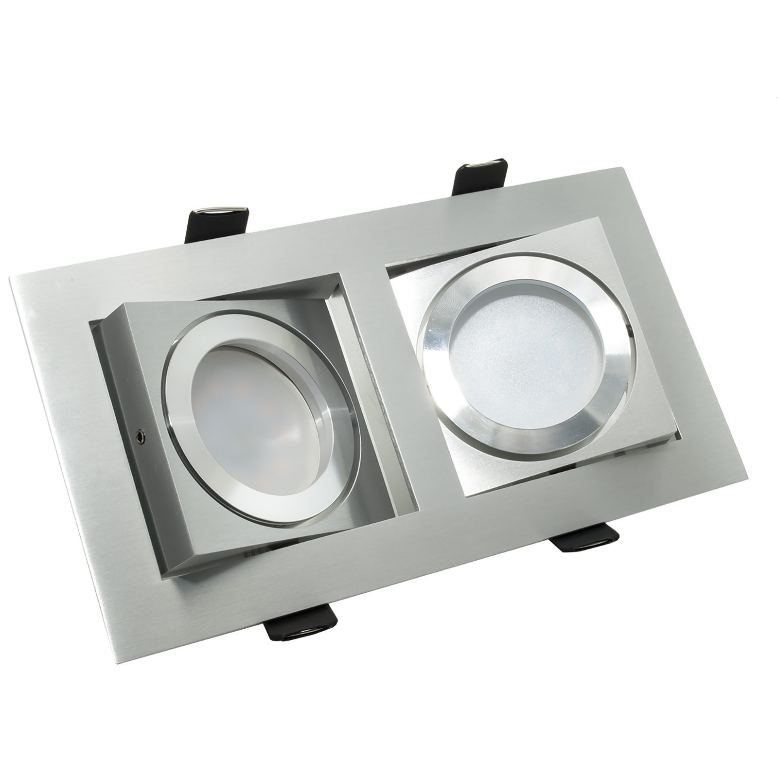 Spotlight rectangular LED-16W dual-lamp, recessed, diffused light 150 degree GU10