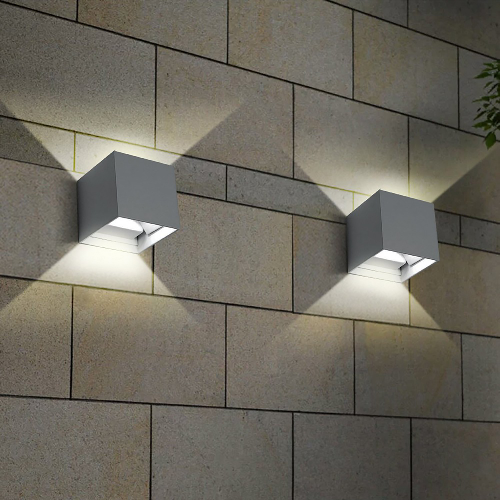 Applique cube outdoor IP65 20W LED 2000 lumen grey white light adjustable