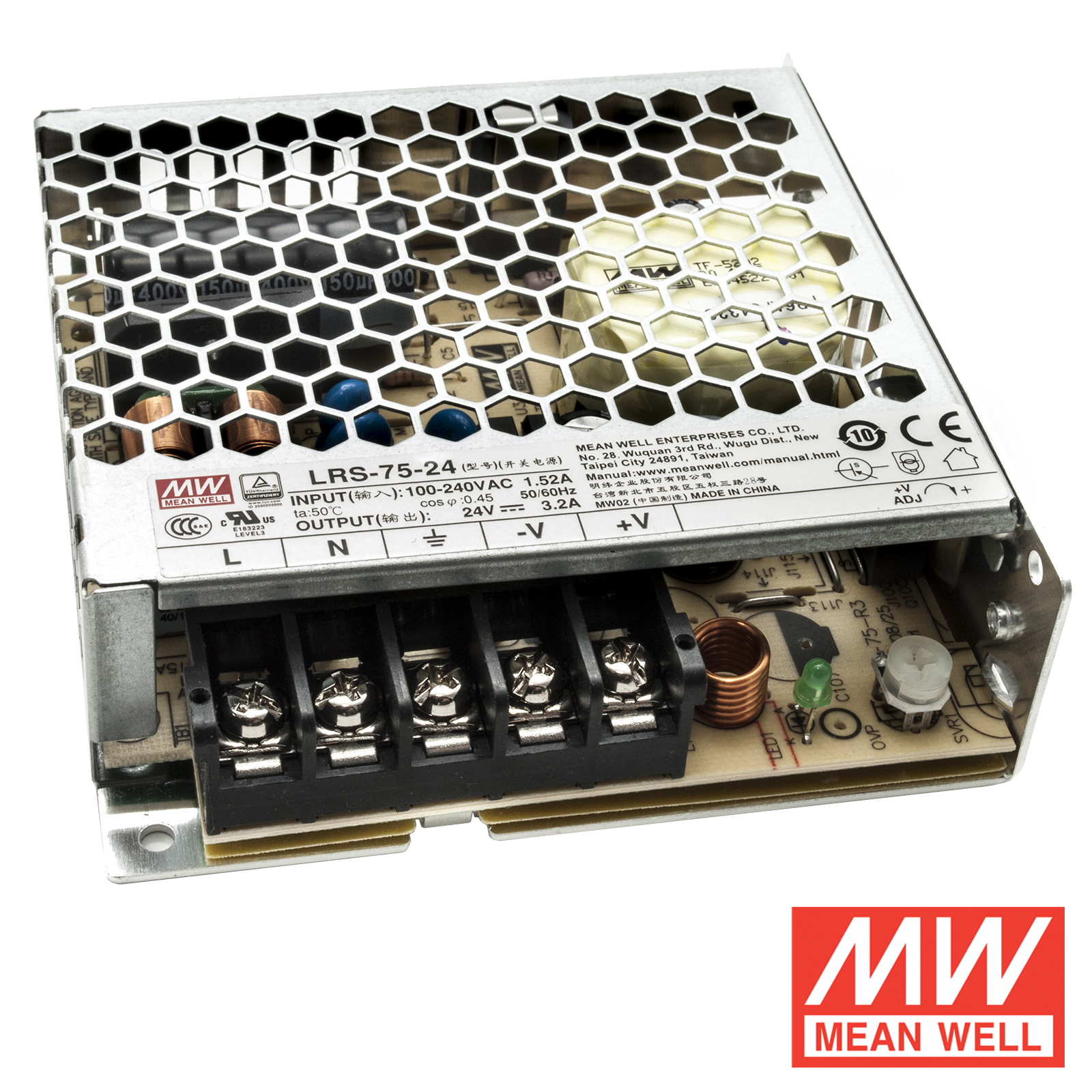 Regulated power supply 75W professional Mean Well LRS-75-24 220V to 24V