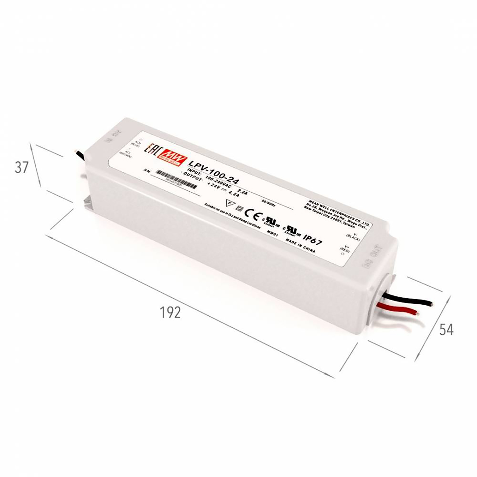Feeder pro 100W LED Mean Well LPV-100-24 transformer from 220V to 24V IP67