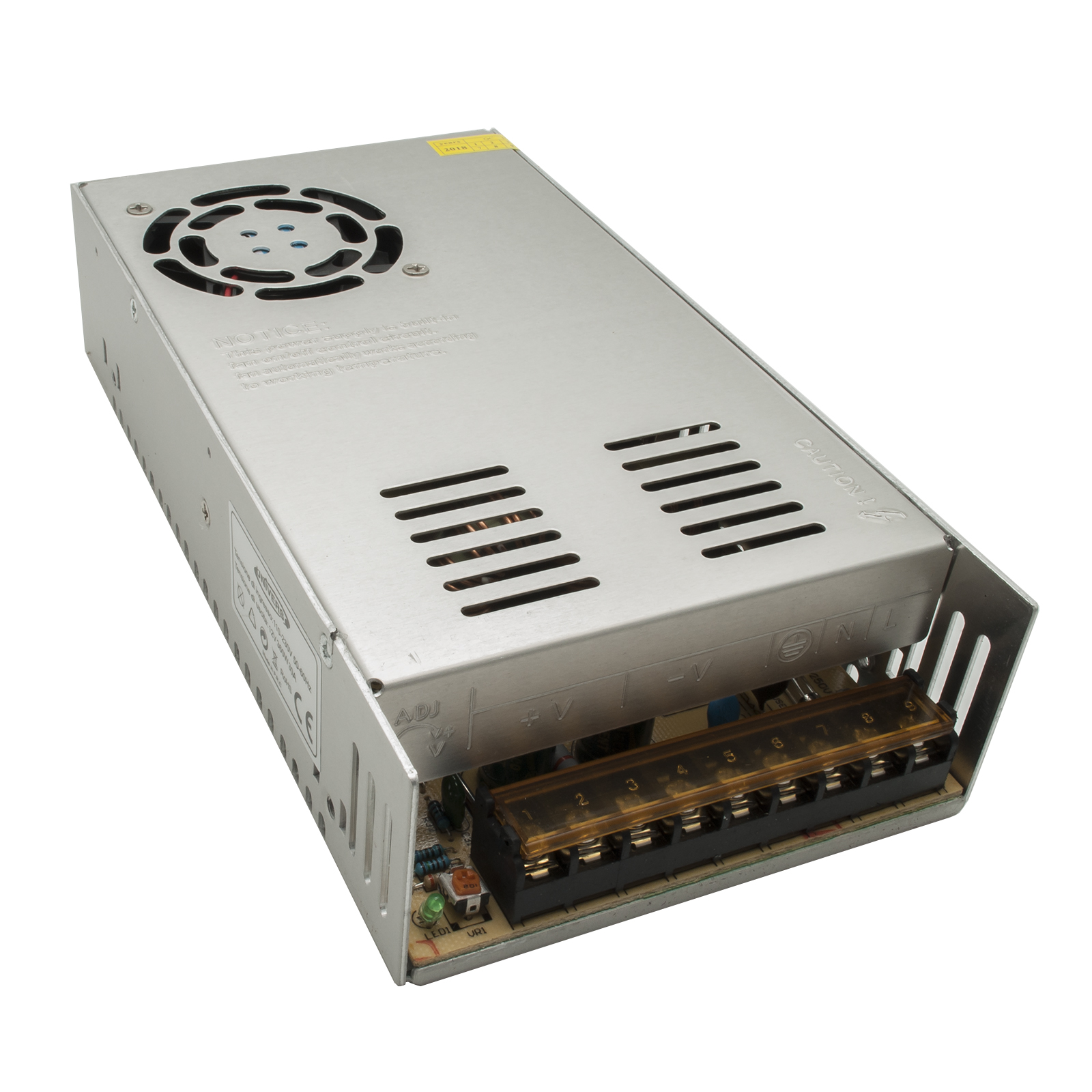 Stabilized power supply 360W with fan 3 outputs for LED 12V 30A IP20 220V