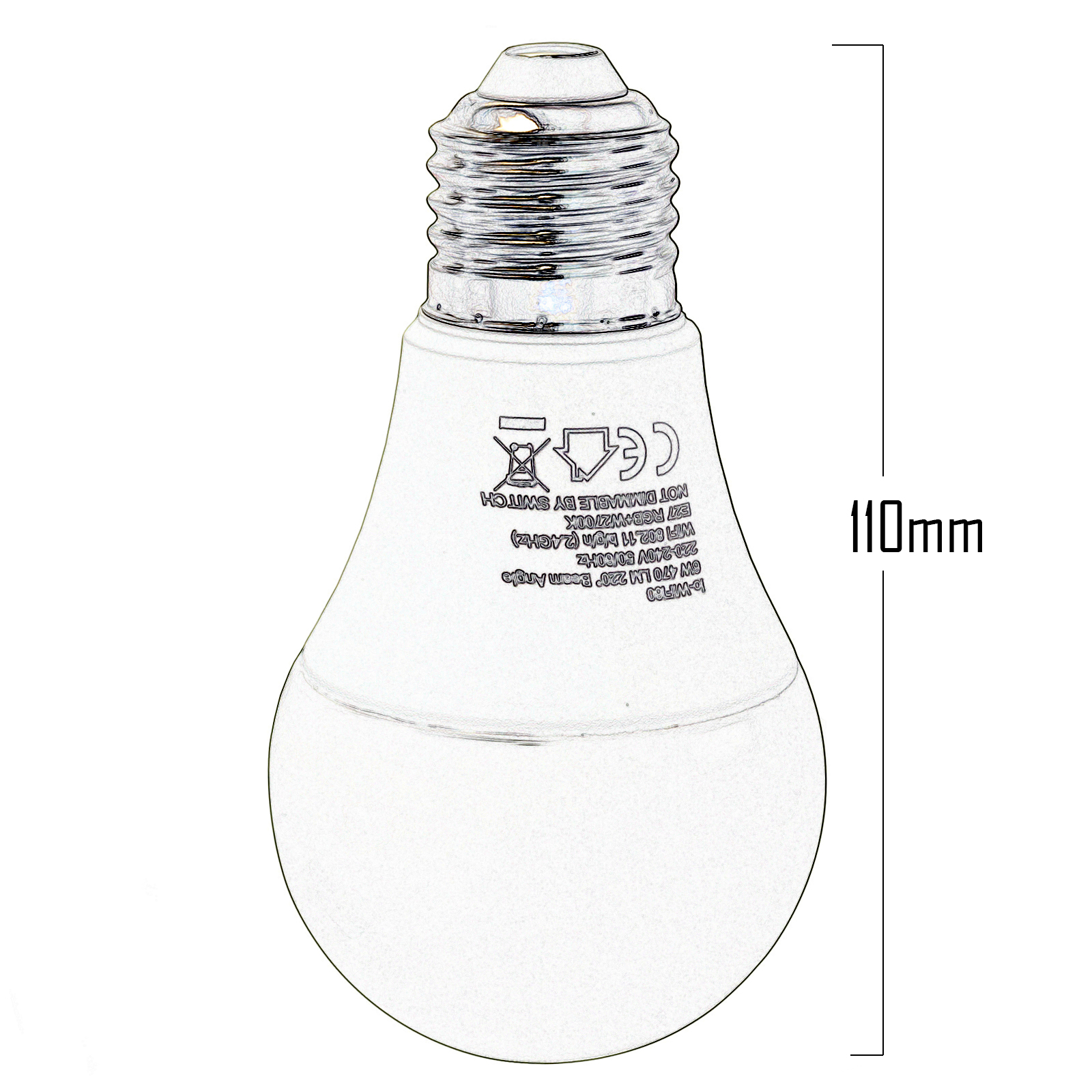 LED light bulb, SMART E27 6W RGBW 2700K WiFi does not require a HUB Alexa IFTTT Google Android smartphone iOS