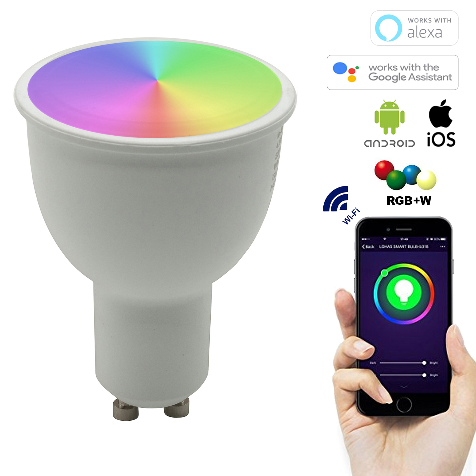 Spot LED dimmable SMART GU10 5W LED 2700K WiFi n'a pas besoin d'un CONCENTRATEUR Alexa IFTTT Google smartphone Android iOS