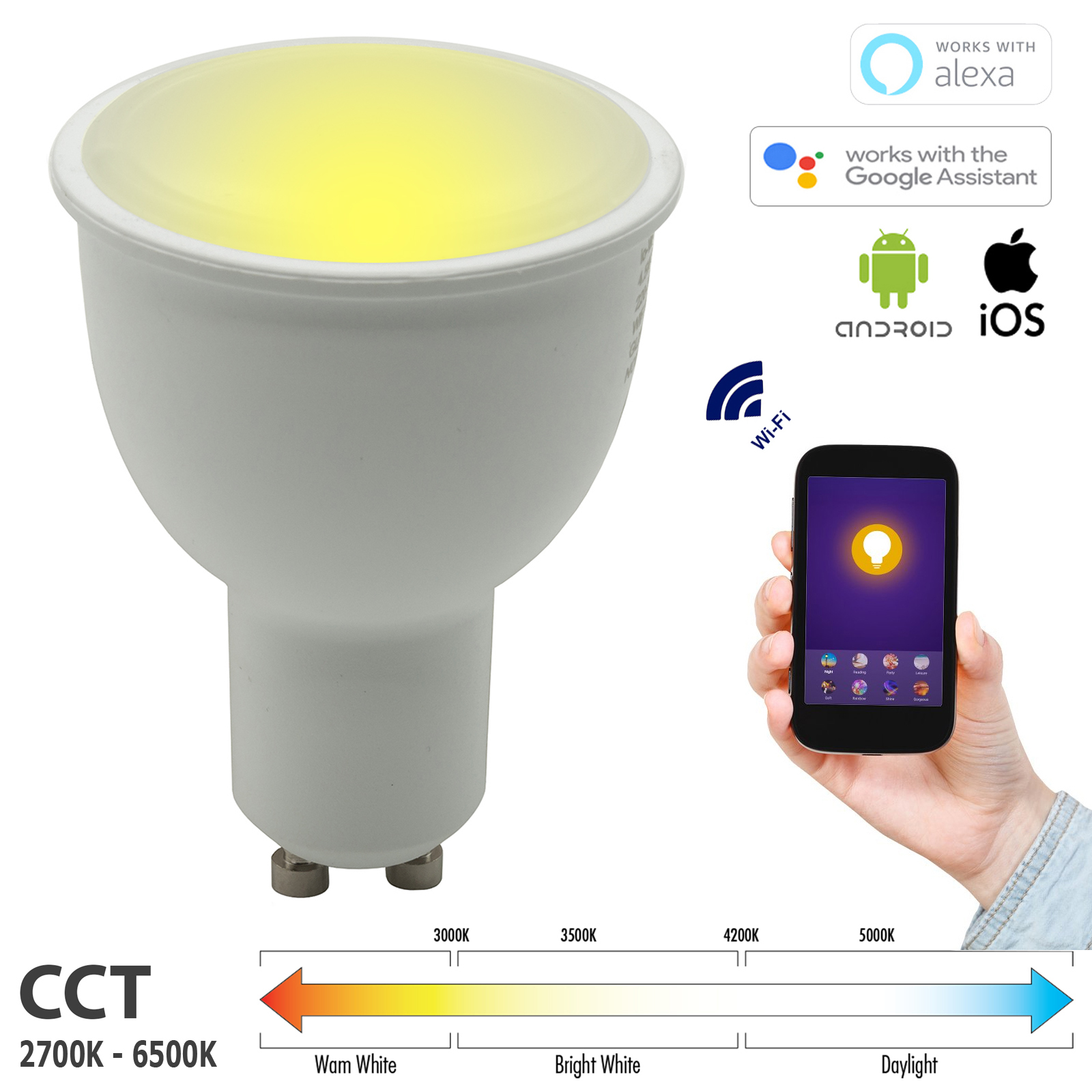 LED spotlight CCT from 2700K to 6500K dimmable SMART GU10 5W WiFi does not require a HUB Alexa IFTTT Google Android smartphone iOS
