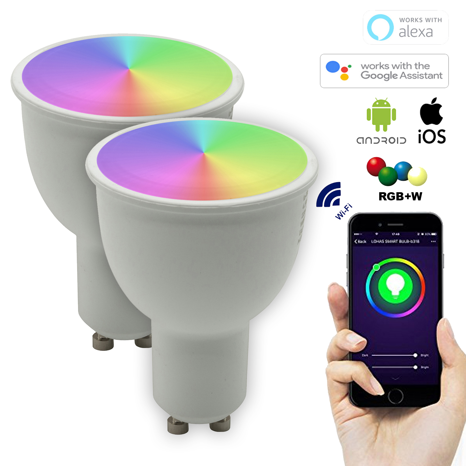 Kit 2 LED spotlights SMART GU10 10W dimmable RGBW + warm light 2700K WiFi does not require HUB compatible Alexa IFTTT smartphone Google Home Android iOS