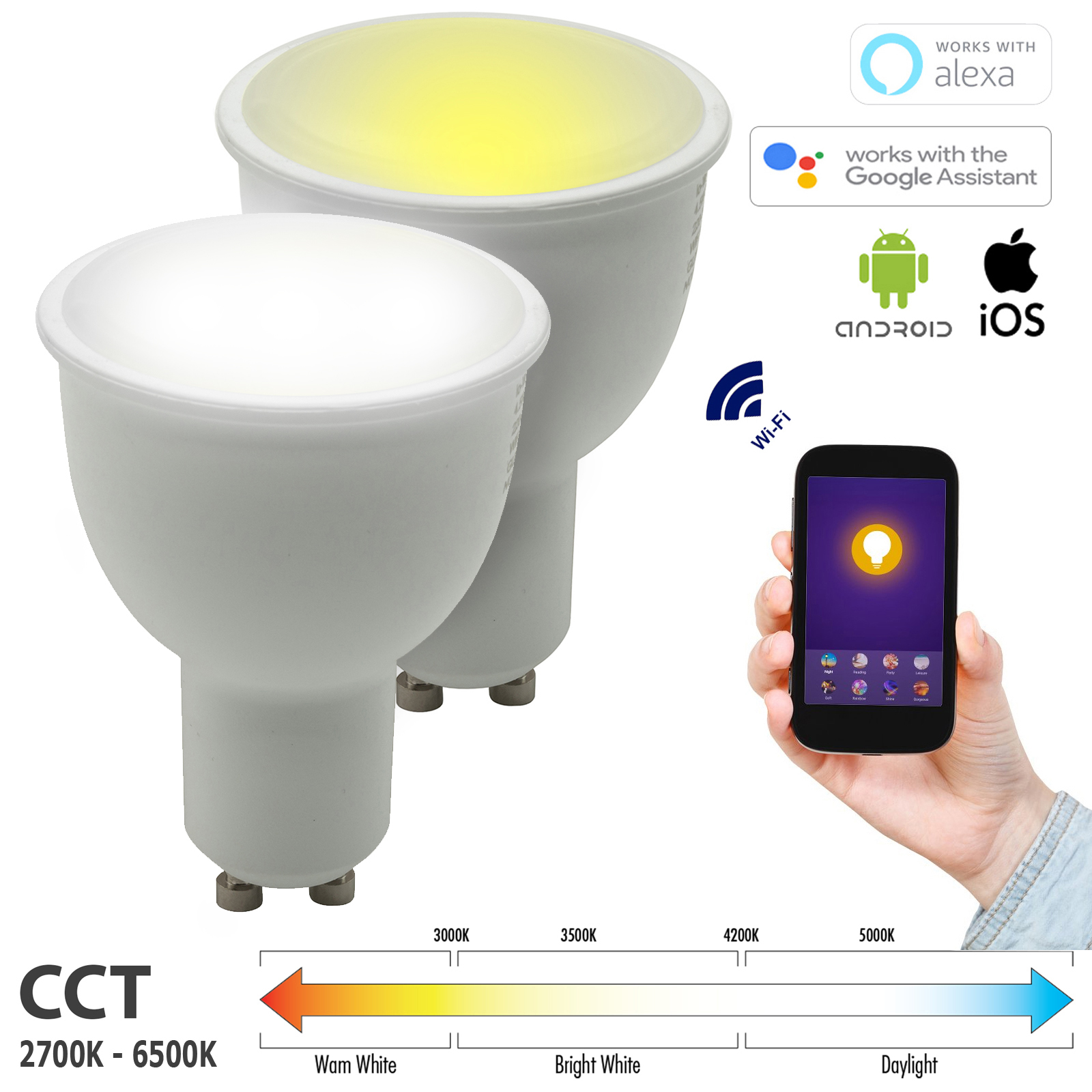 KIt WiFi SMART BULB 2pcs LED spotlights GU10 CCT from 2700K to 6500K 9W does not require HUB lamp compatible to Alexa, Google Home IFTTT Android smartphone iOS