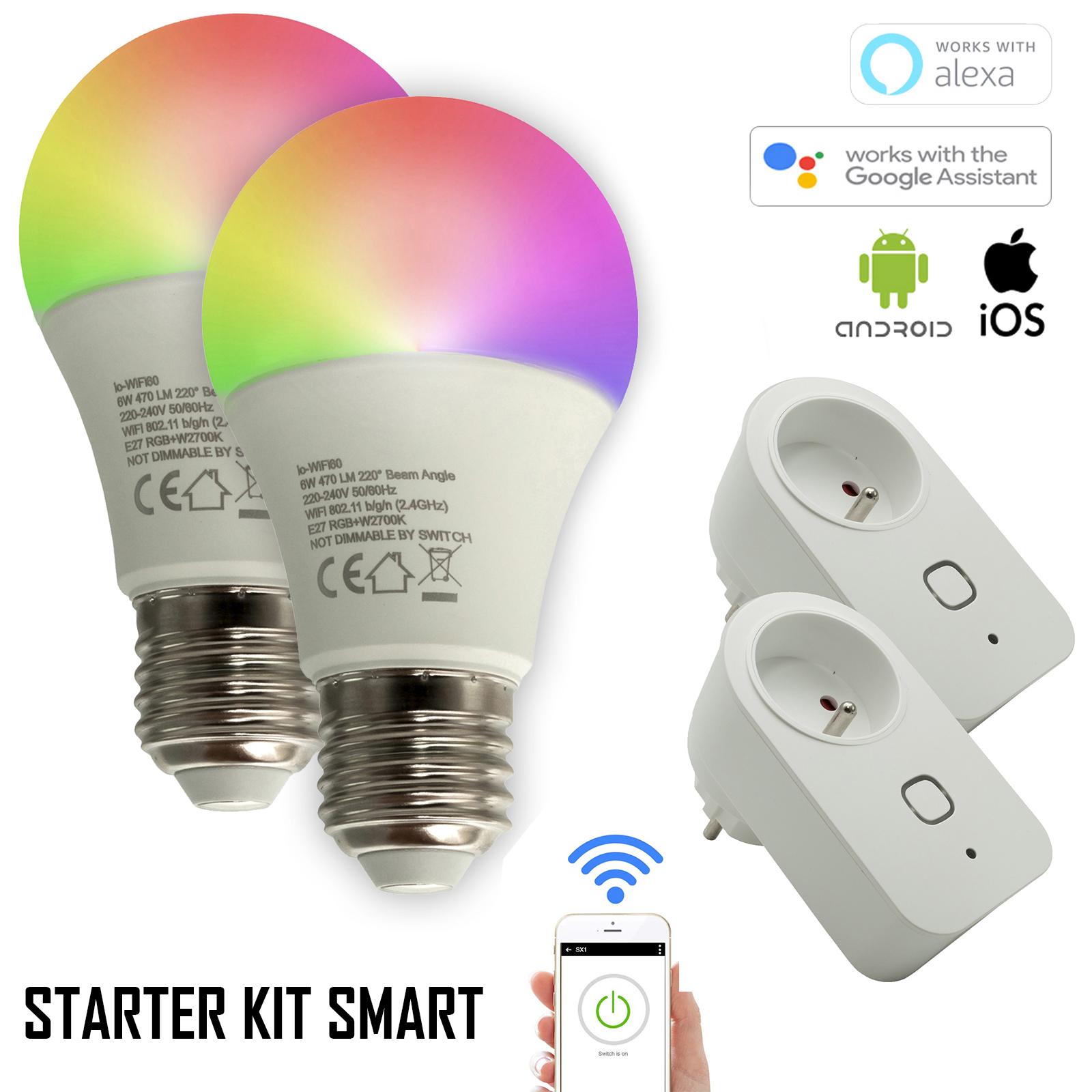 SMART WiFi STARTER KIT 2 lampade LED E27 RGBW 2700K 12W cromoterapia + 2 prese shuko intelligenti NO HUB Amazon Alexa Googole Home IFTTT app smartphone Android iOS