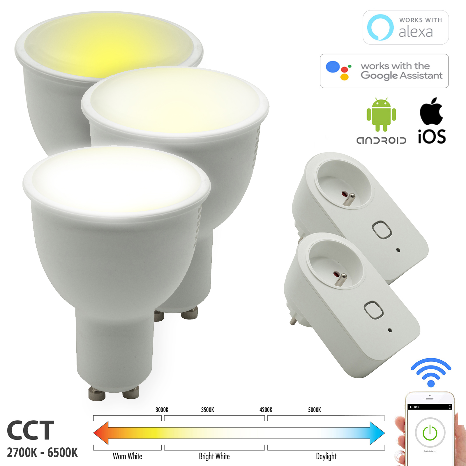 STARTER KIT SMART BULB WiFi 3 spotlights LED GU10 CCT 15W light, from 2700K to 6500K + 2 sockets sockets smart NO HUB Amazon Alexa Googole Home IFTTT app for smartphone Android iOS
