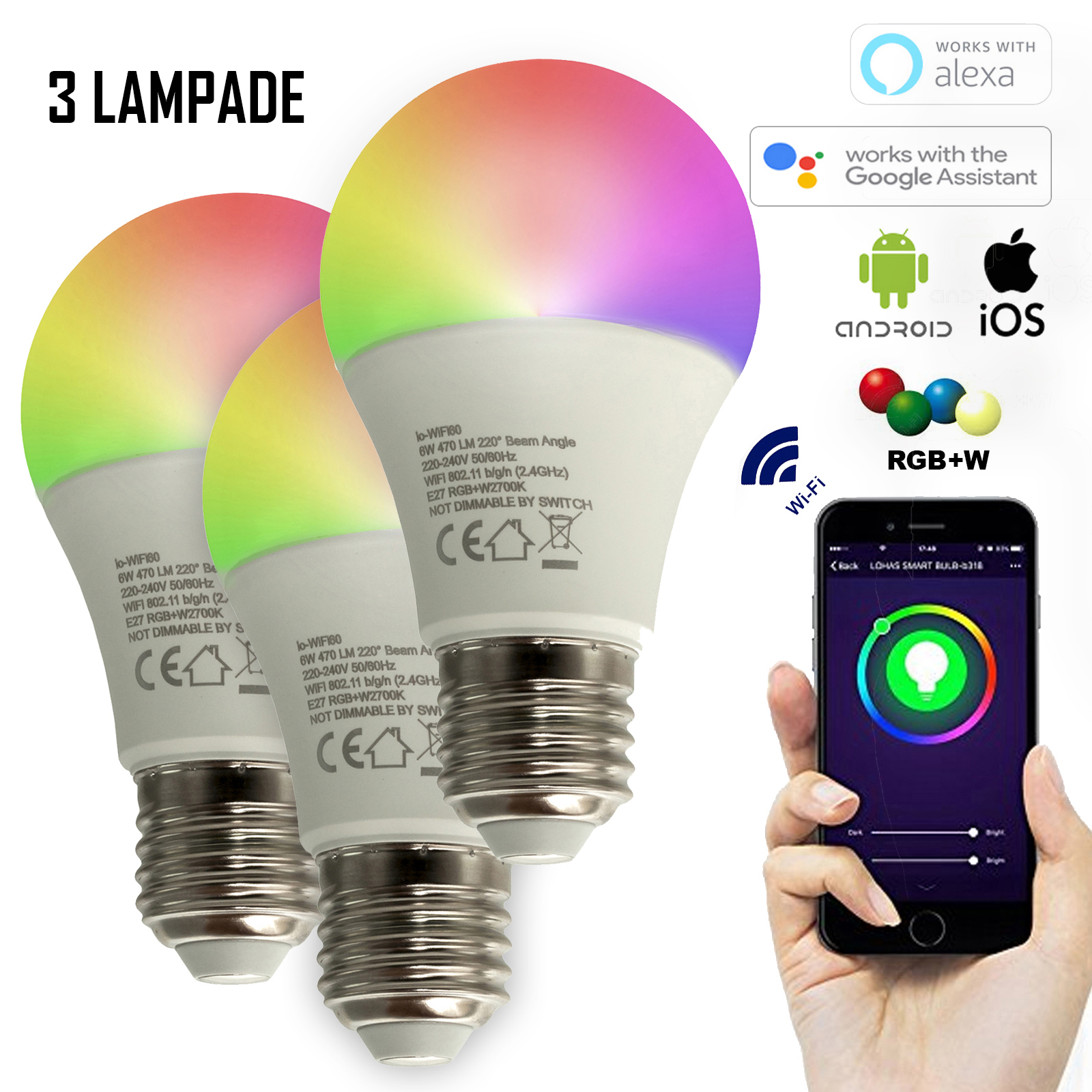 3 PCS light bulbs SMART WiFi BULB LED E27 18W led light RGBW + warm light 2700K NO HUB compatible Alexa IFTTT Google Android smartphone iOS