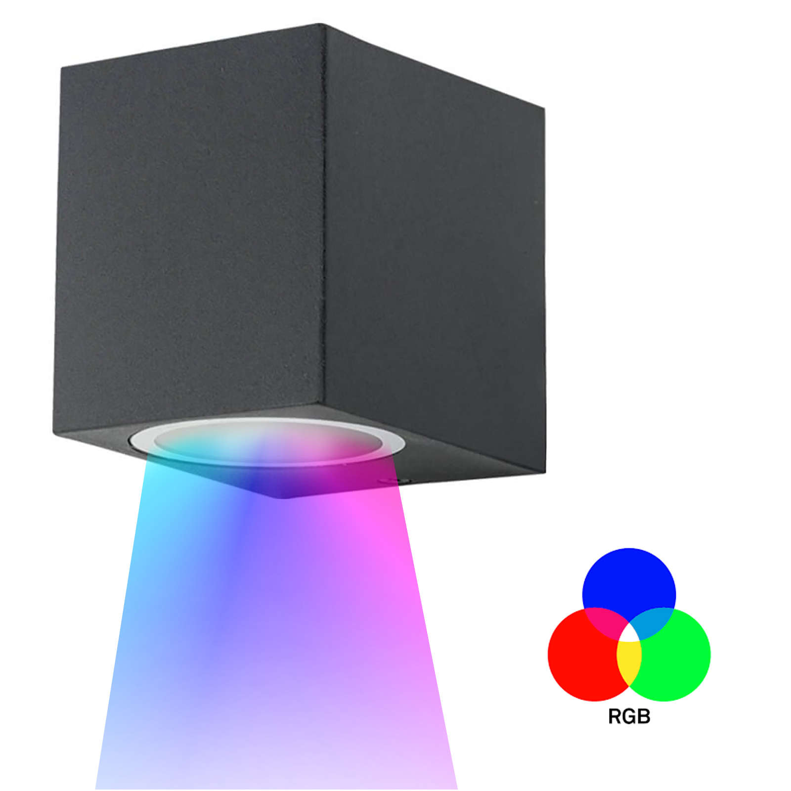 Applique light, led rgb multi color cube lamp wall outdoor RGBW in 1 beam light GU10