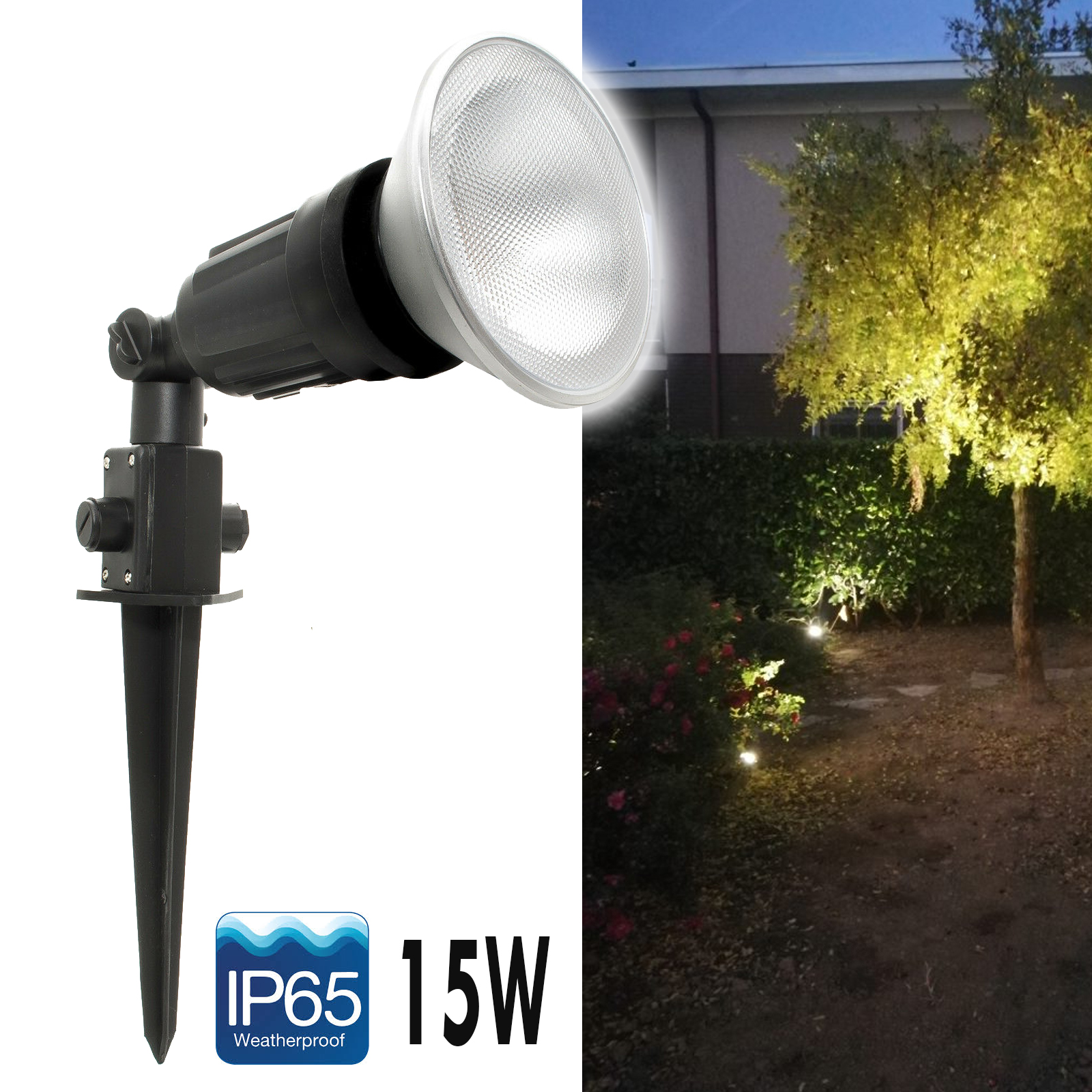 LED spotlight picket adjustable bollard garden light bulb spot 15W IP65 E27