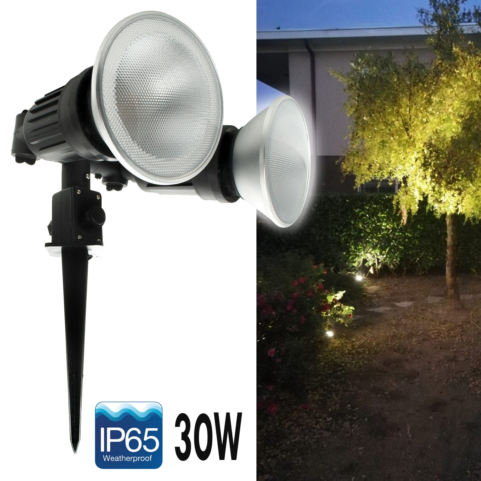 Lighthouse garden spike twin lamp adjustable LED spot 30W PAR38 E27 IP65