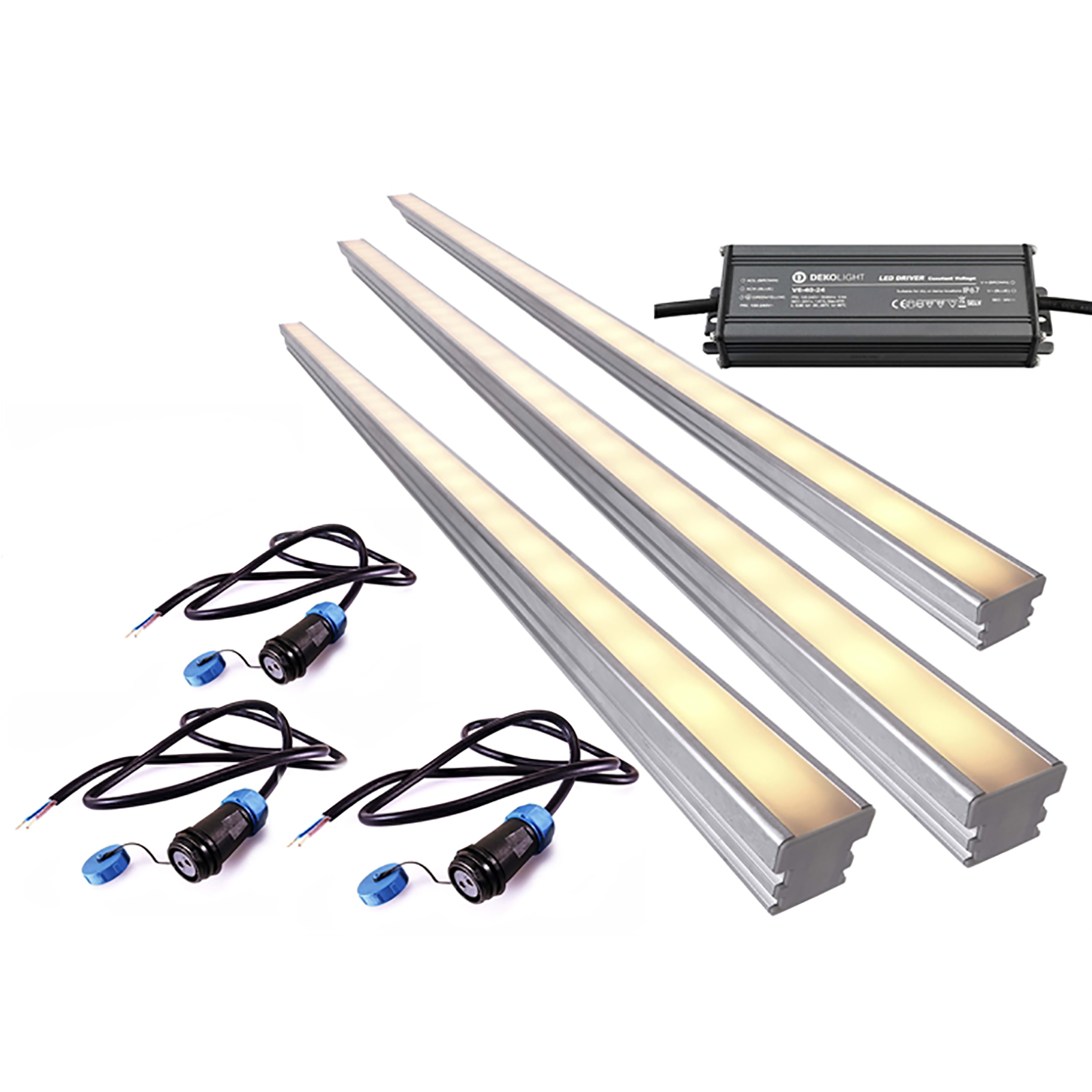 KIT 3 profile 2m recessed floor LED 54W driveway 1T IP67 power supply 24V
