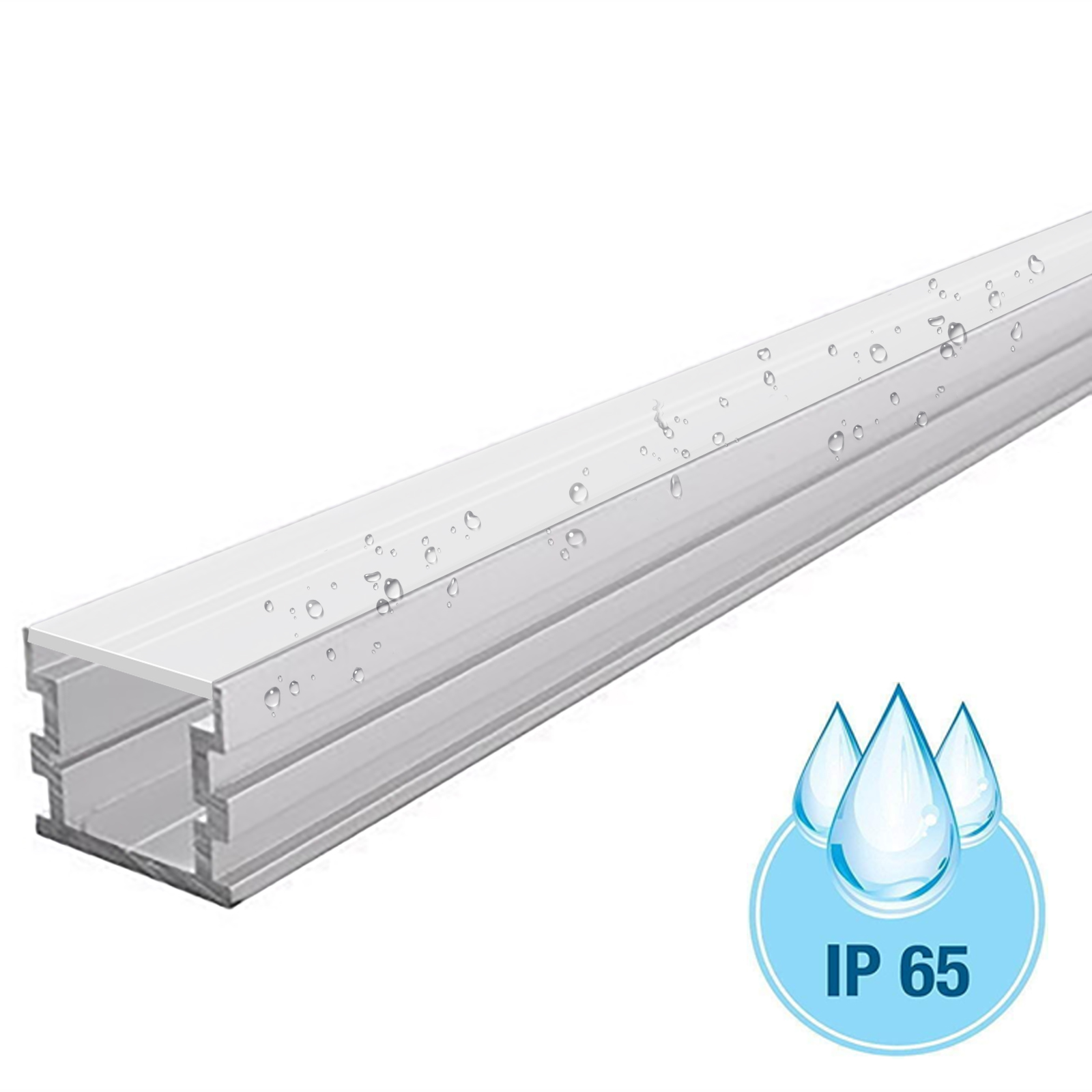 Aluminium profile 24mm U-HIGH IP65 bar linear recessed and floor support, LED strips outdoor