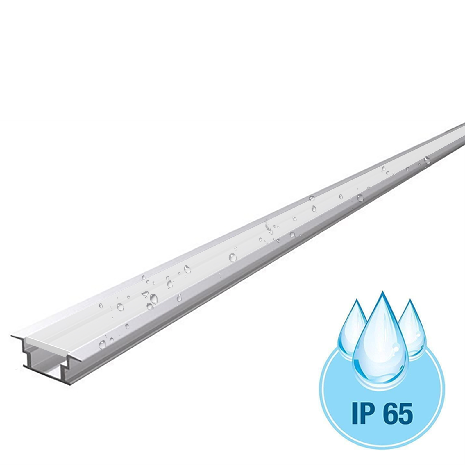 Profile slim aluminum 30mm T-FLAT IP65 for LED strips recessed wooden floor walls ceilings