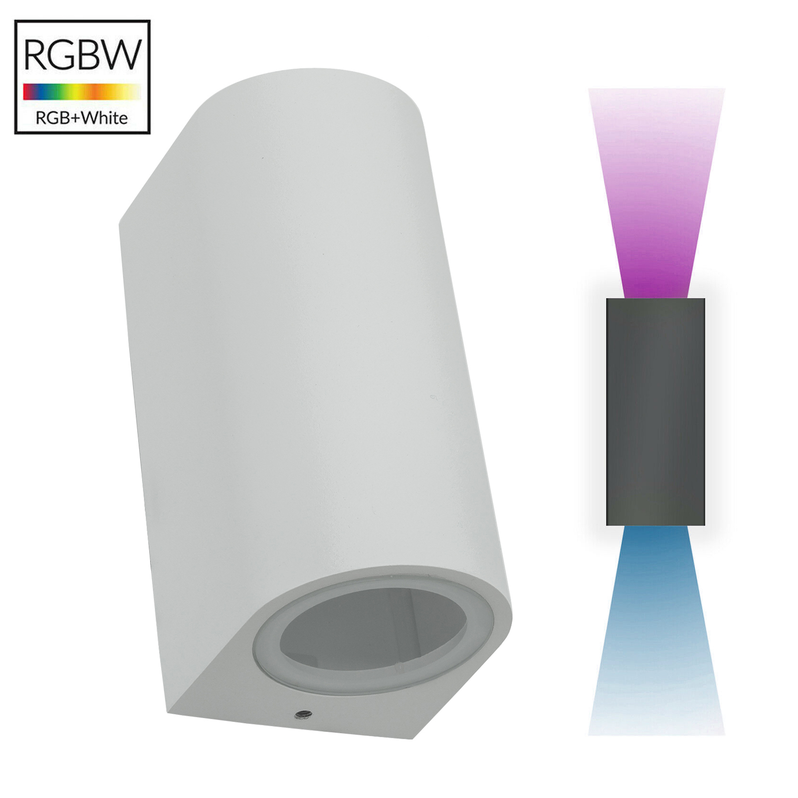 Applique white up down LED light colorful RGB wall facade garden IP65 230V