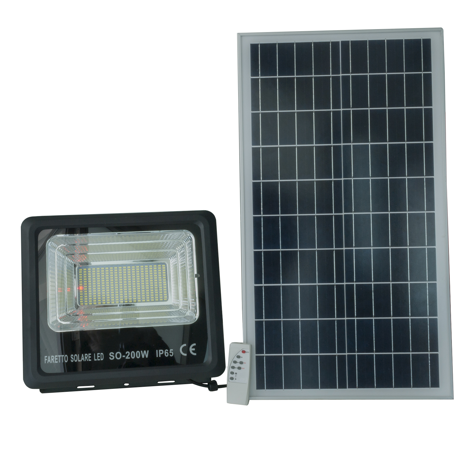 LED floodlight 200W solar twilight sensor IP65 photovoltaic panel and remote control