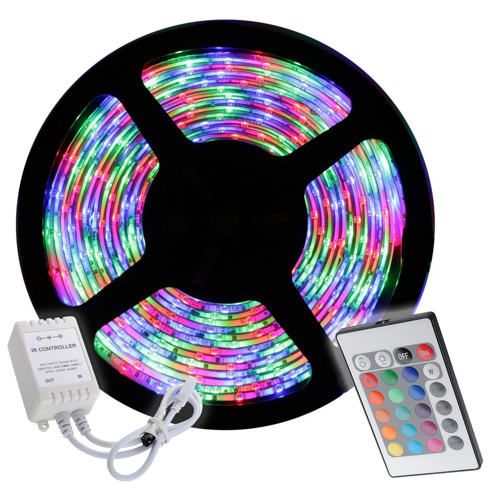 Strip 300 RGB LED 5 meters 35W, 15 color 4 games light car boat rv 12V