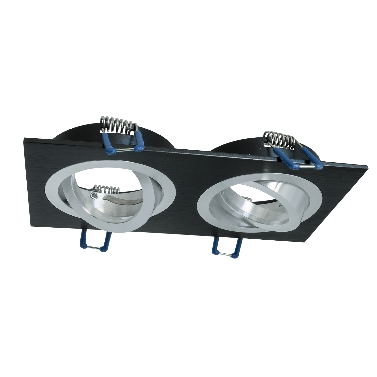 Portafaretto rectangular black flush 155x80mm twin light adjustable LED GU10