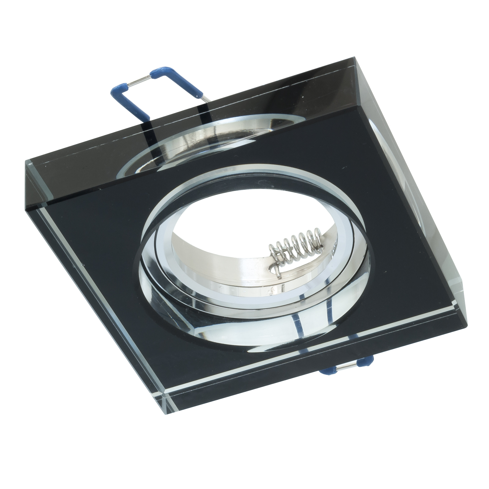 Portafaretto, recessed, 60mm black square crystal glass downlight GU10 GU5.3 MR16