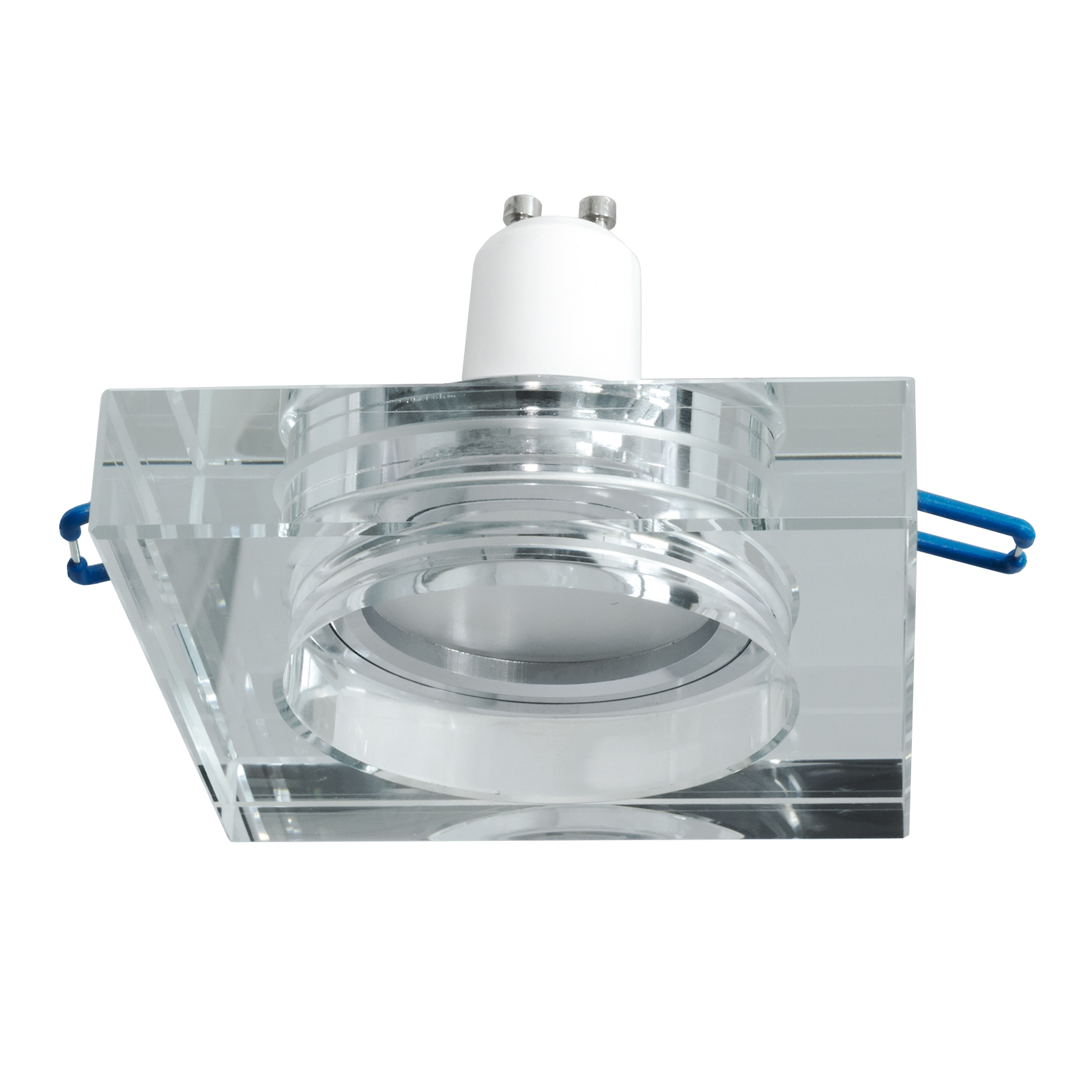 Downlight square glass, mirrored, recessed, 60mm LED light 5W GU10 shelves, shop windows