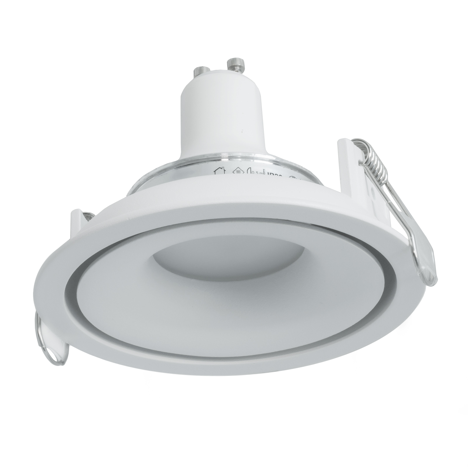 Spotlight round white recessed ceiling 90mm LED 5W GU10 lamp showcases shop