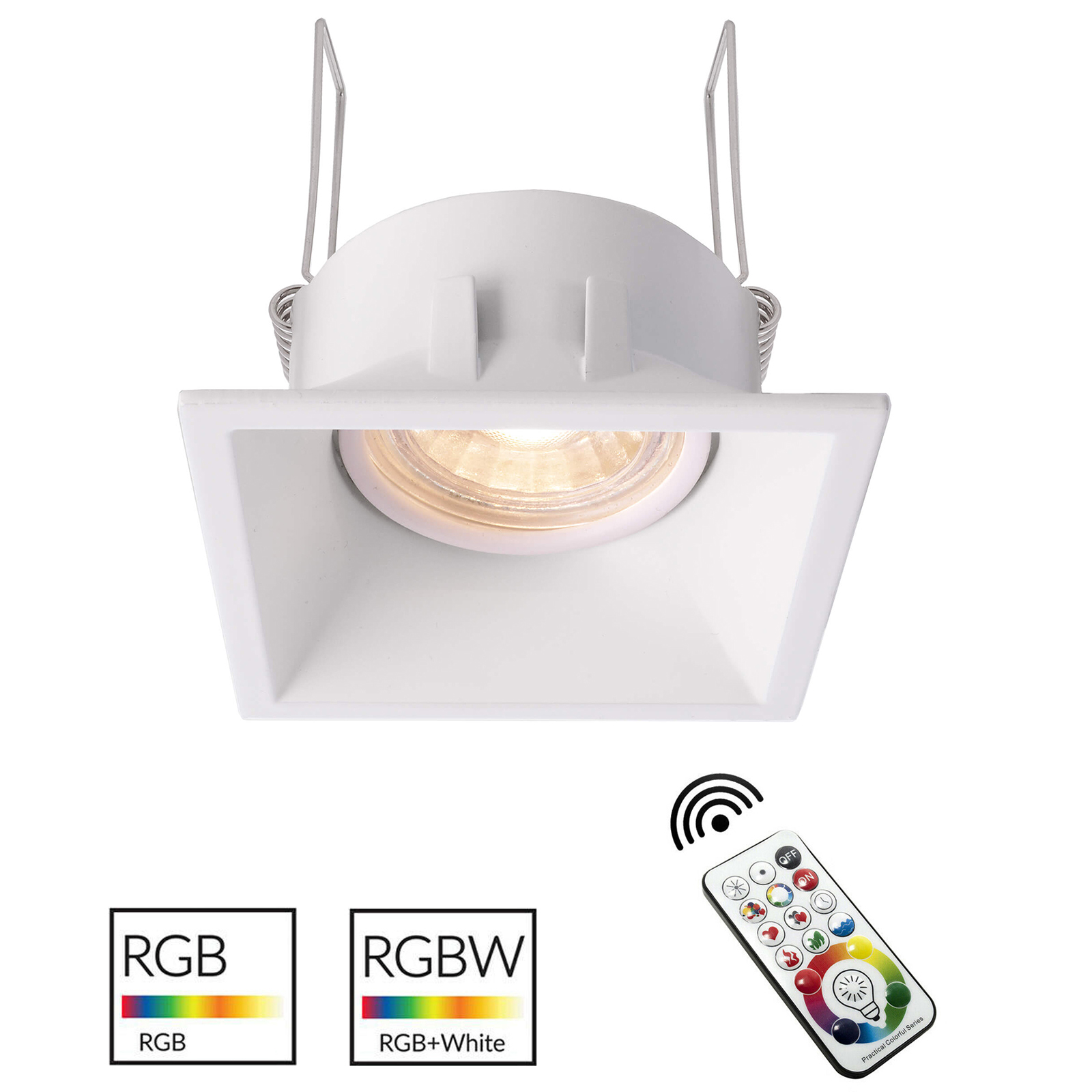Spotlight white square color therapy interior recessed 8cm LED light GU10 RGB 6000K