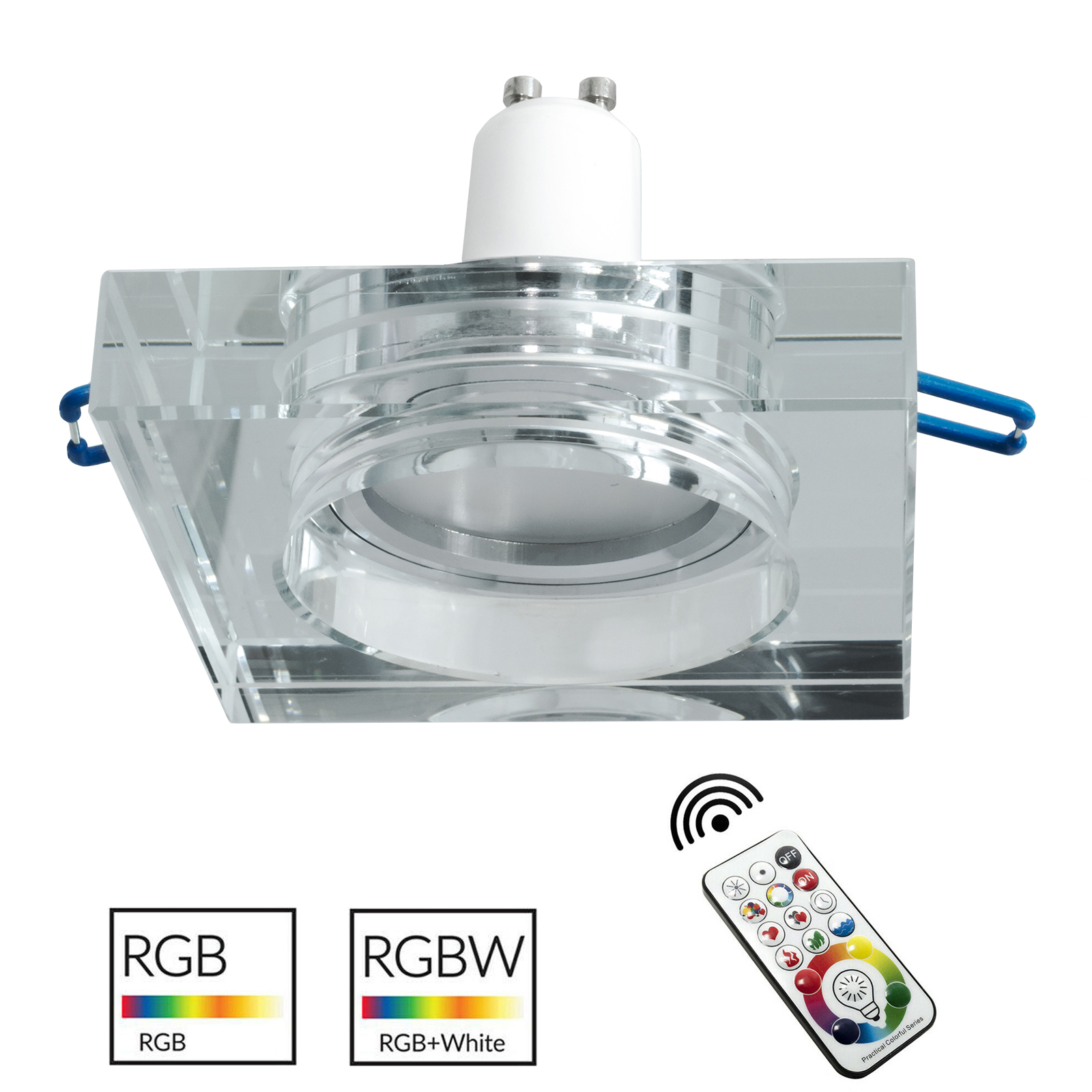 Downlight modern recessed square 6cm glass hanging lamp colorful LED GU10 RGB 6000K