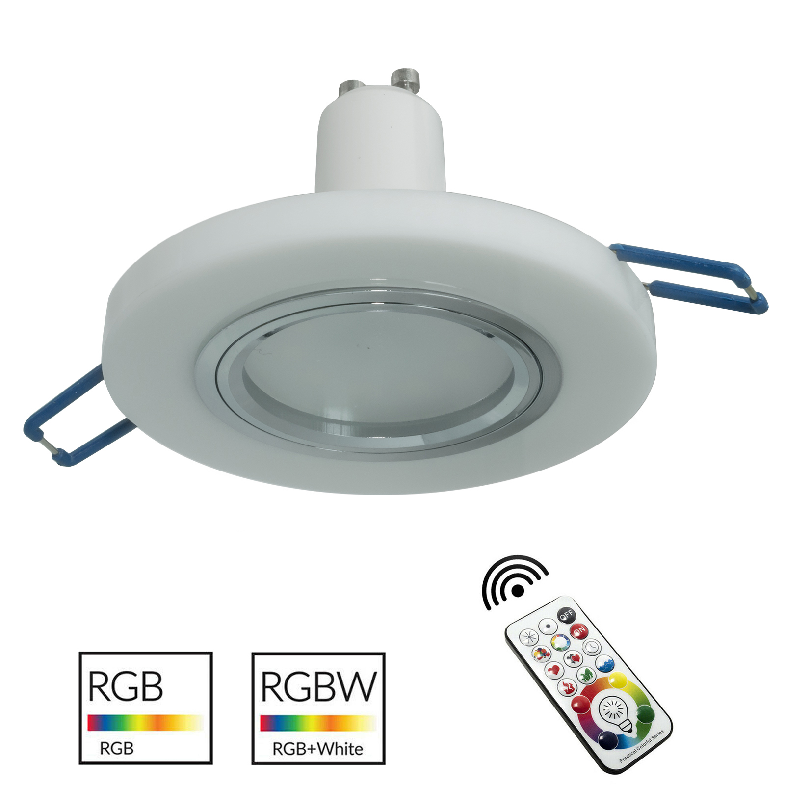 Spotlight recessed round 6cm modern white glass LED GU10 RGB light colorful shops