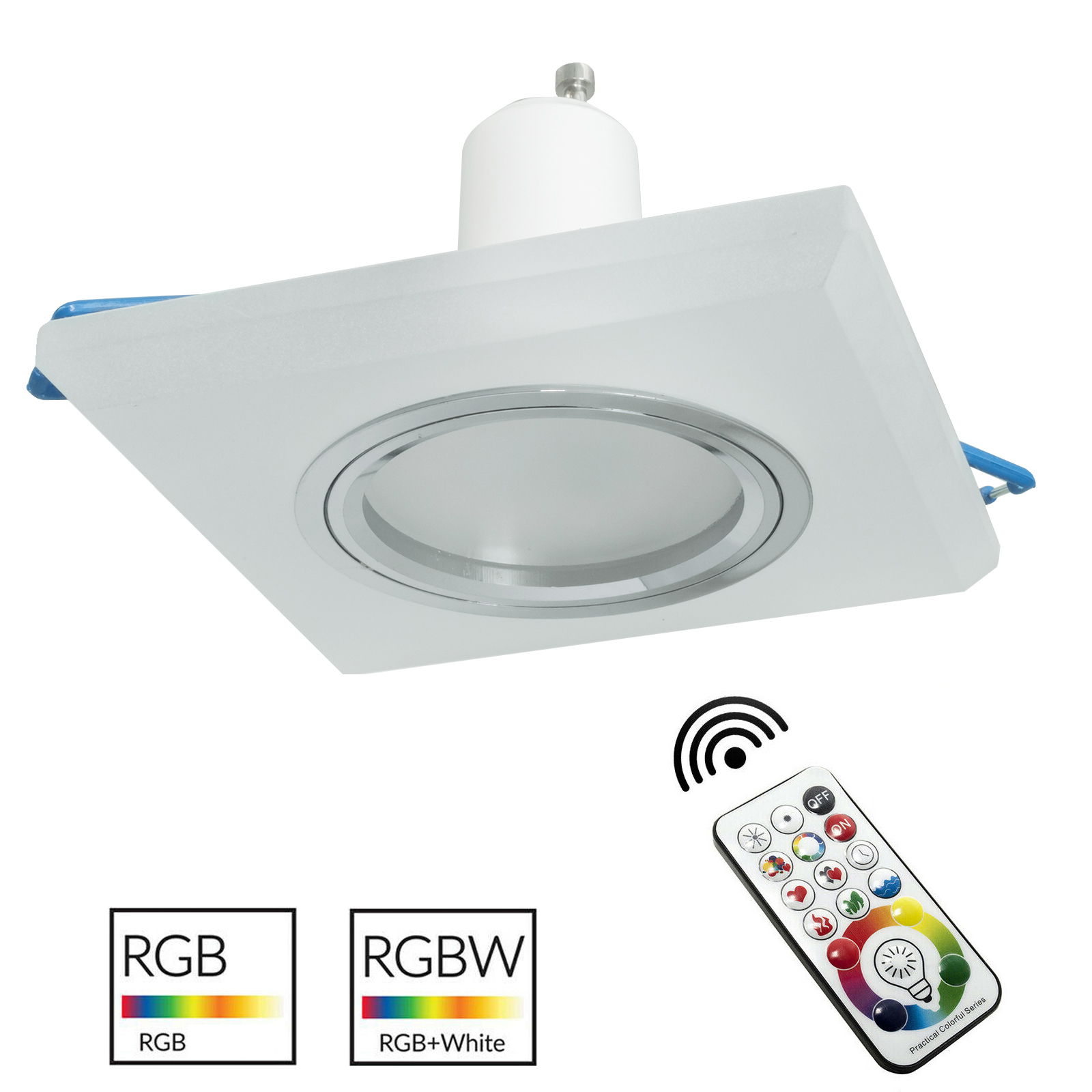 LED spot light frosted glass flush-square-6cm square colored light RGB GU10