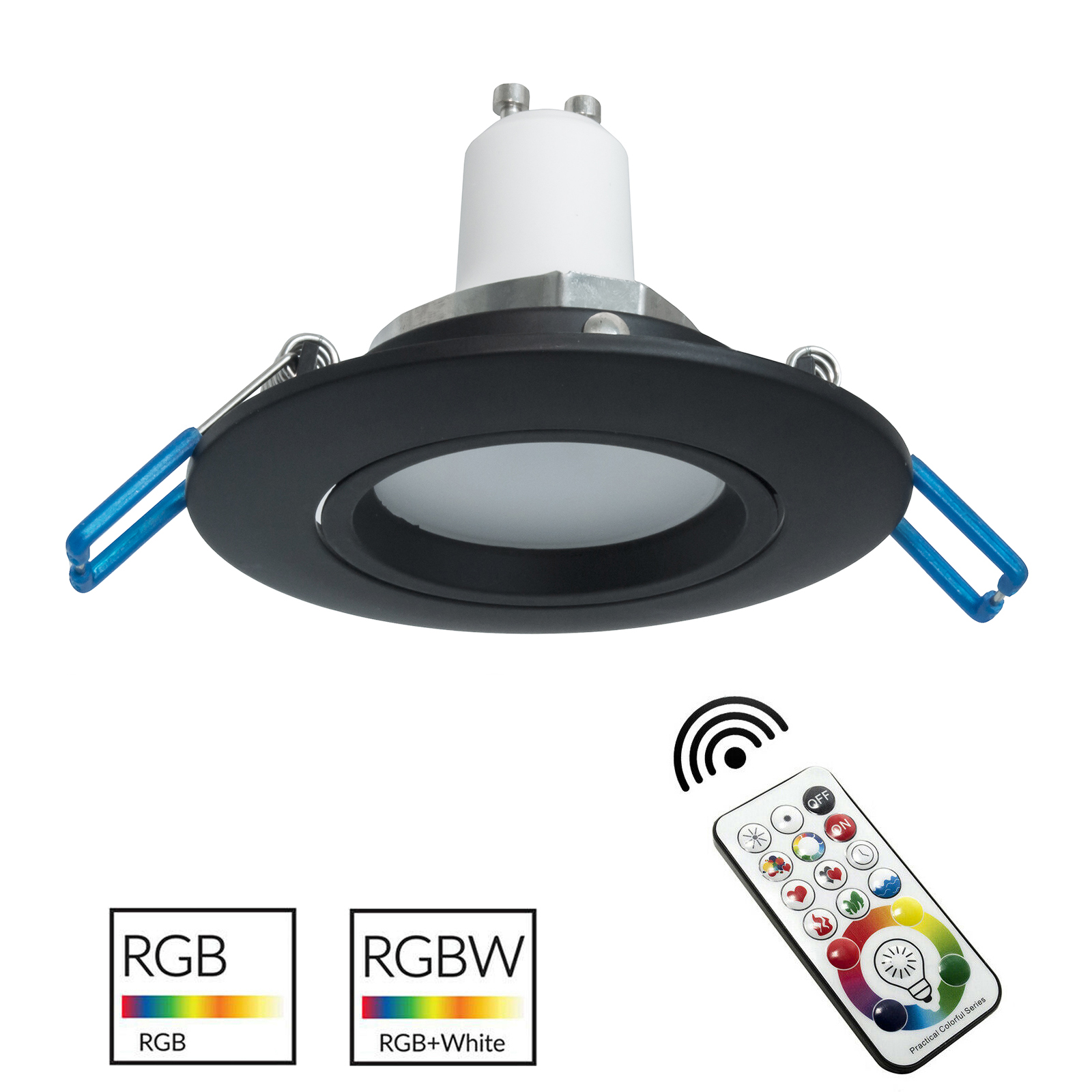 Spotlight black recessed round 7cm LED lamp RGB GU10 color therapy interior bar pub