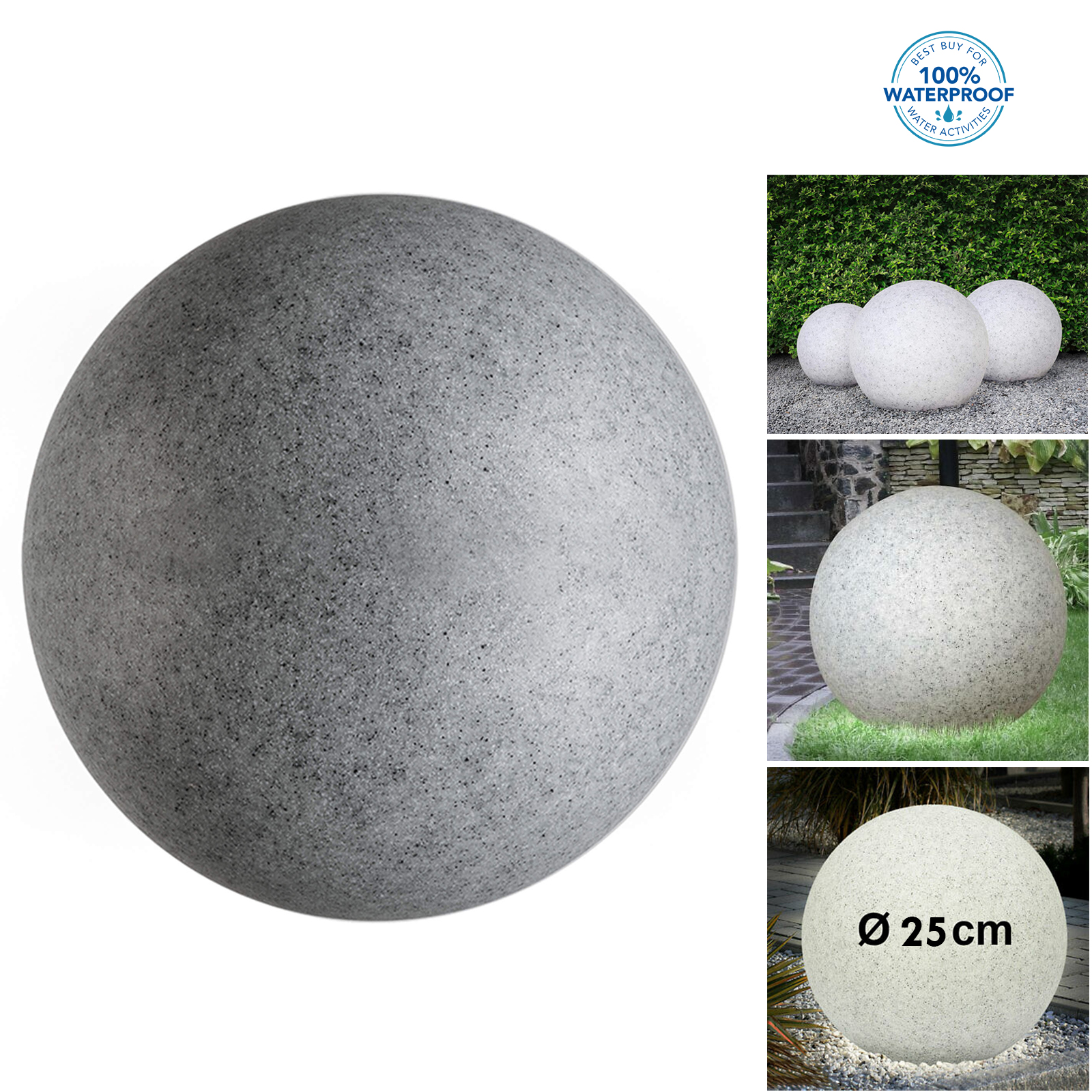 Ball of light stone LED 10W E27 decorative light RGB garden outdoor IP65 25cm