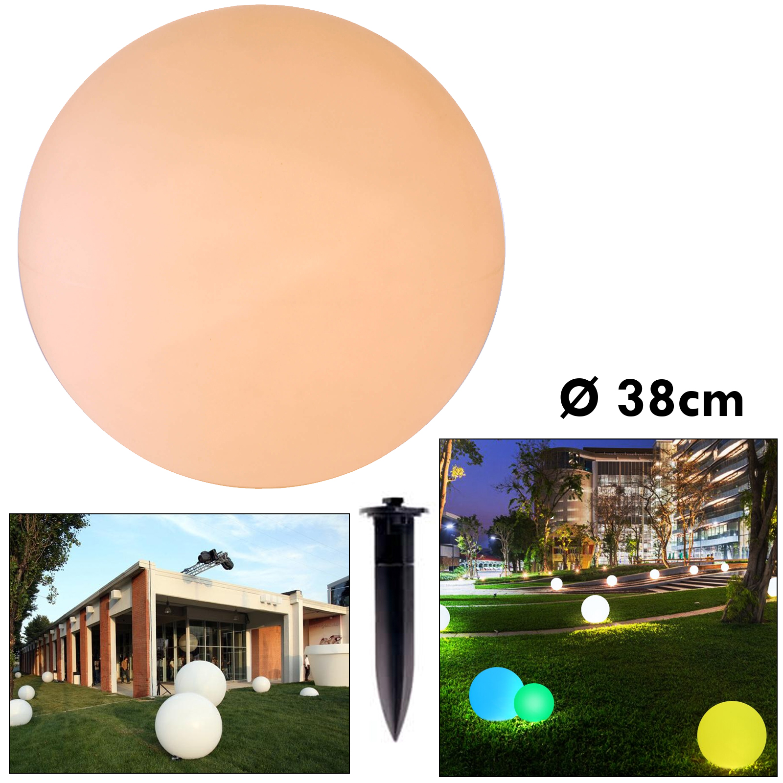 LED lamp RGB ball light E27 lights event room, garden, swimming pool IP65 38mm
